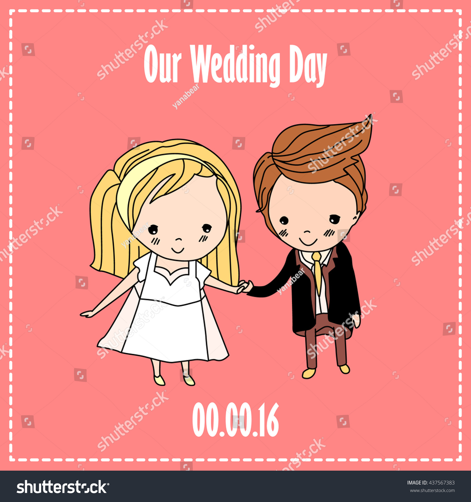 Royalty Free Wedding Invitation Card Cartoon 437567383 Stock