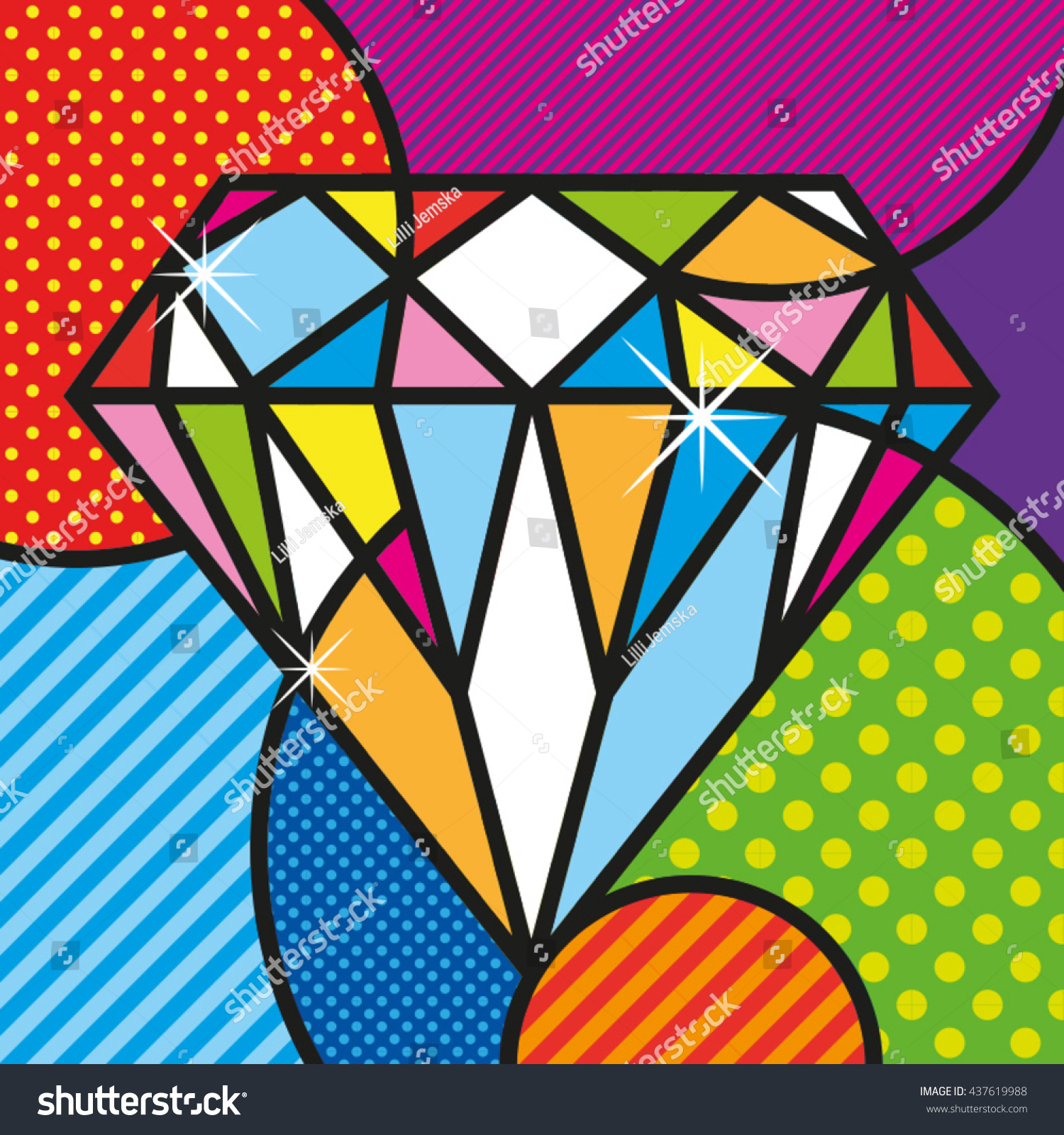 pop art diamond brilliant luxury jewelry stock vector 437619988 shutterstock. Black Bedroom Furniture Sets. Home Design Ideas