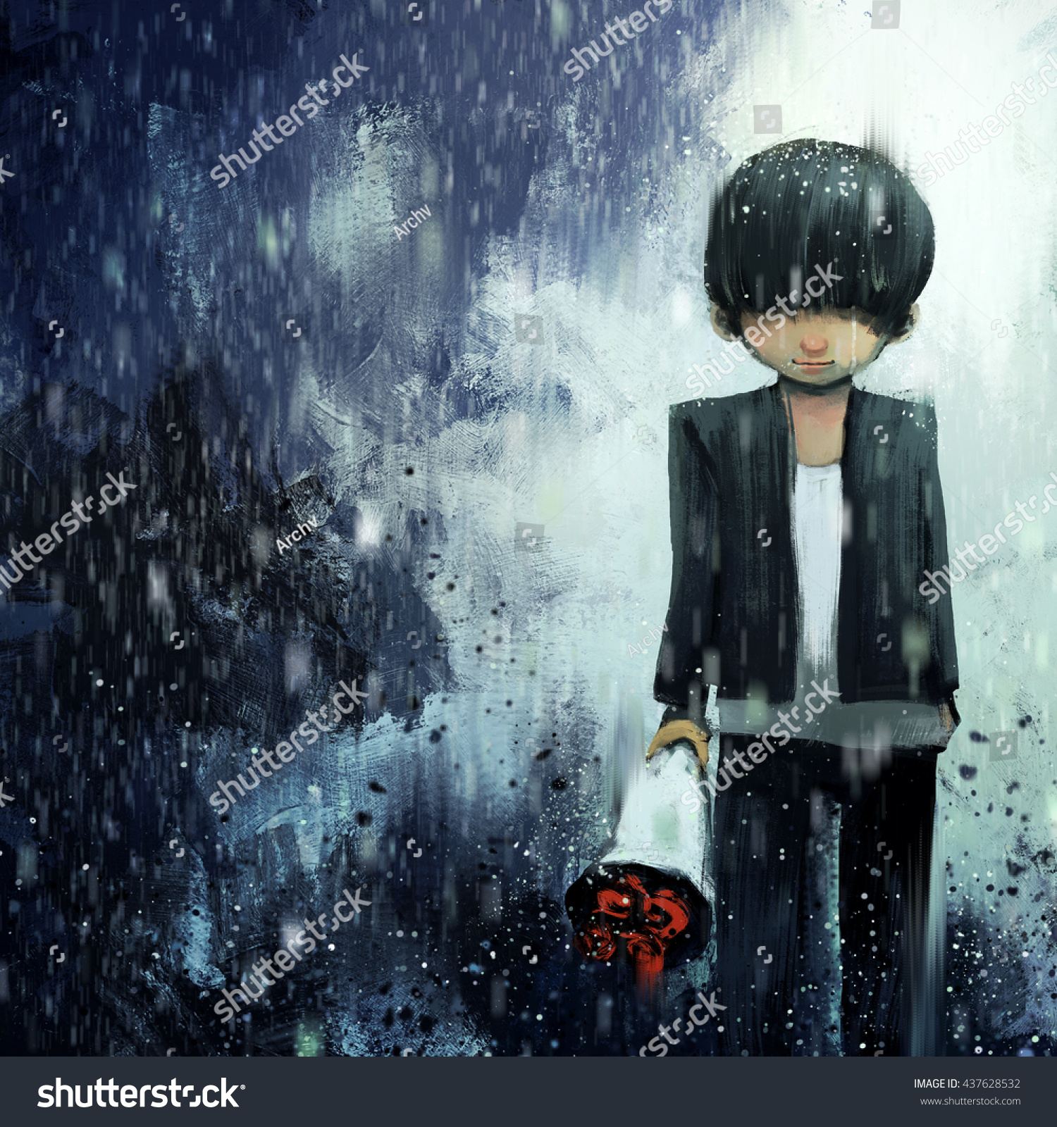 Digital painting of sad boy with bouquet in rainy day acrylic on canvas texture