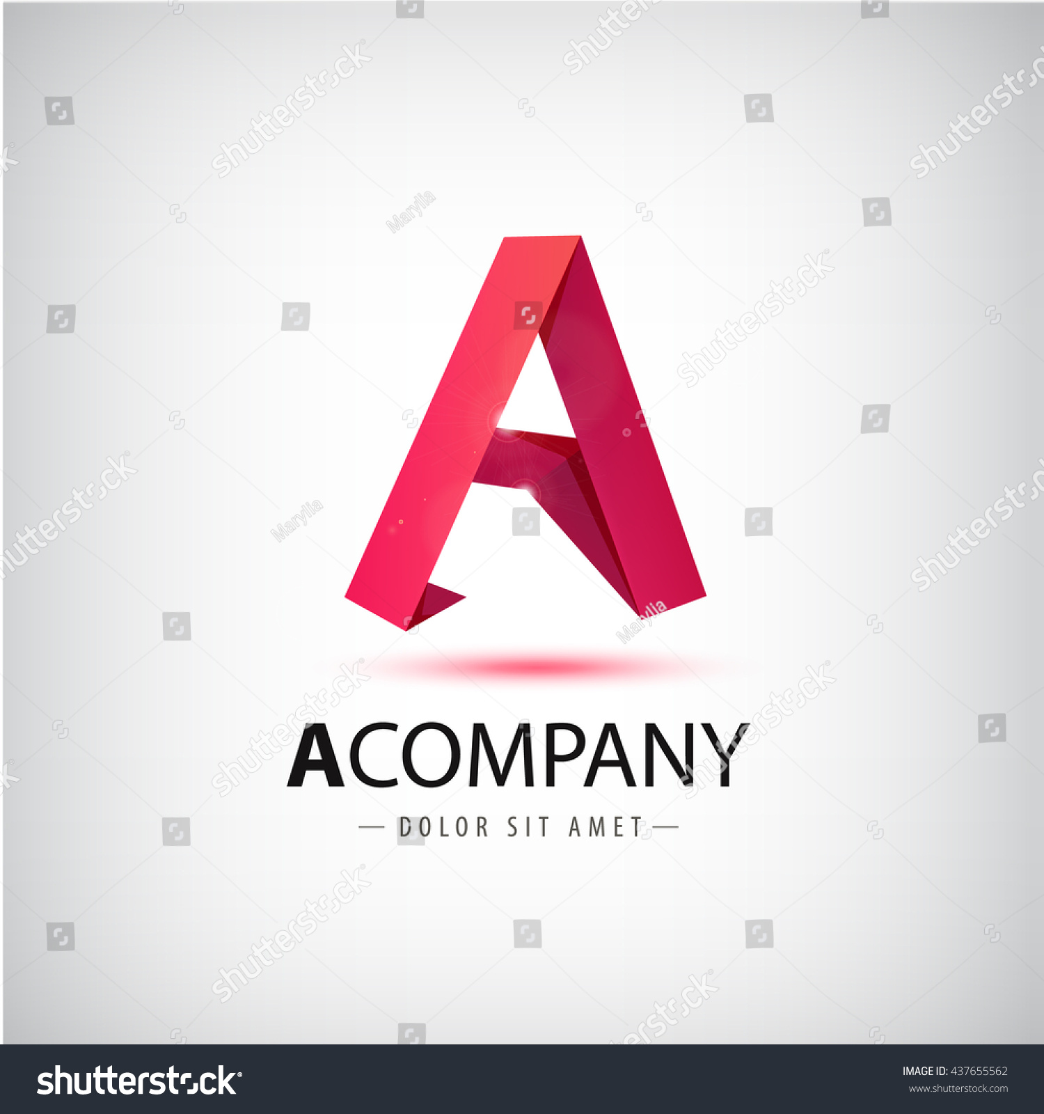Vector Red Letter Origami Logo 3 D Stock Vector 437655562