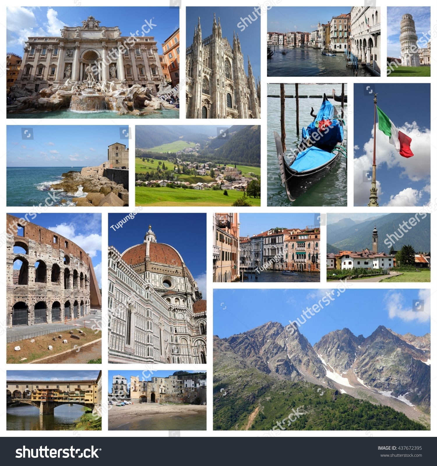 Italy Tourism Attractions Travel Collage Stock Download