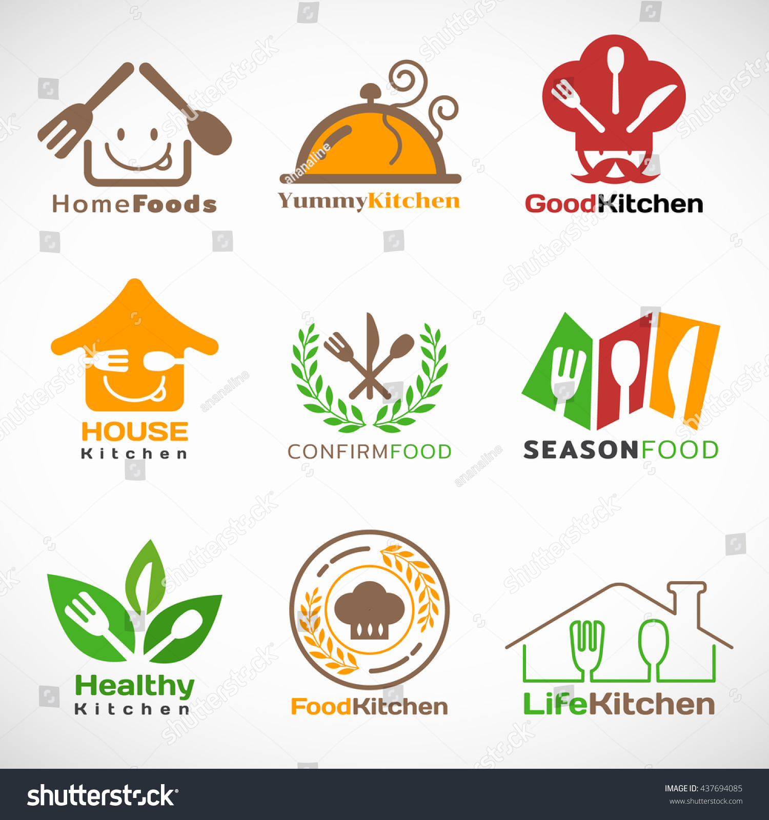 kitchen logo design restaurant home kitchen logo vector set 스톡 벡터 437694085 2247