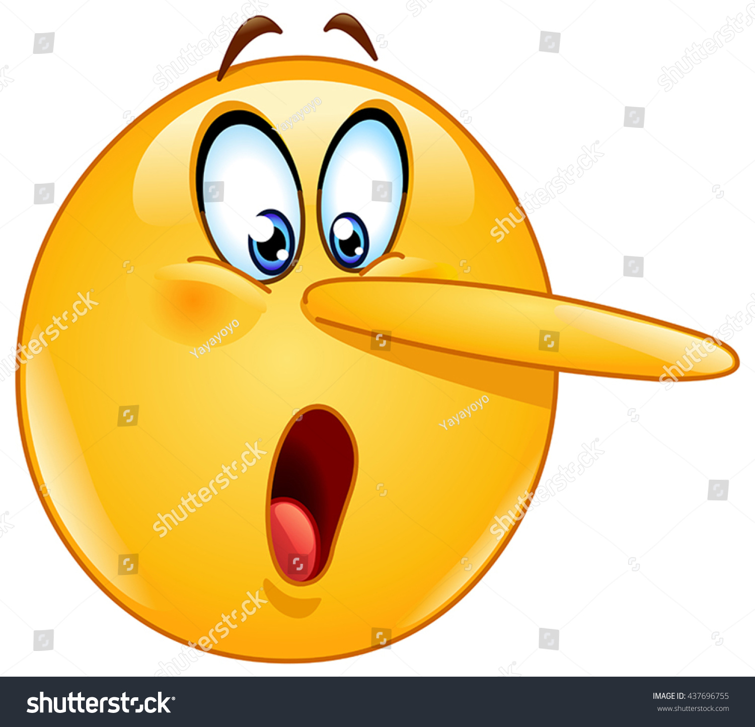 Lying Face Emoticon Long Nose Indicating Stock Vector Royalty Free