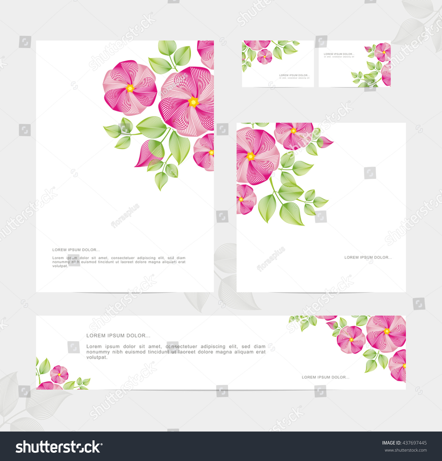 templates corporate style blossoming dogrose identity stock