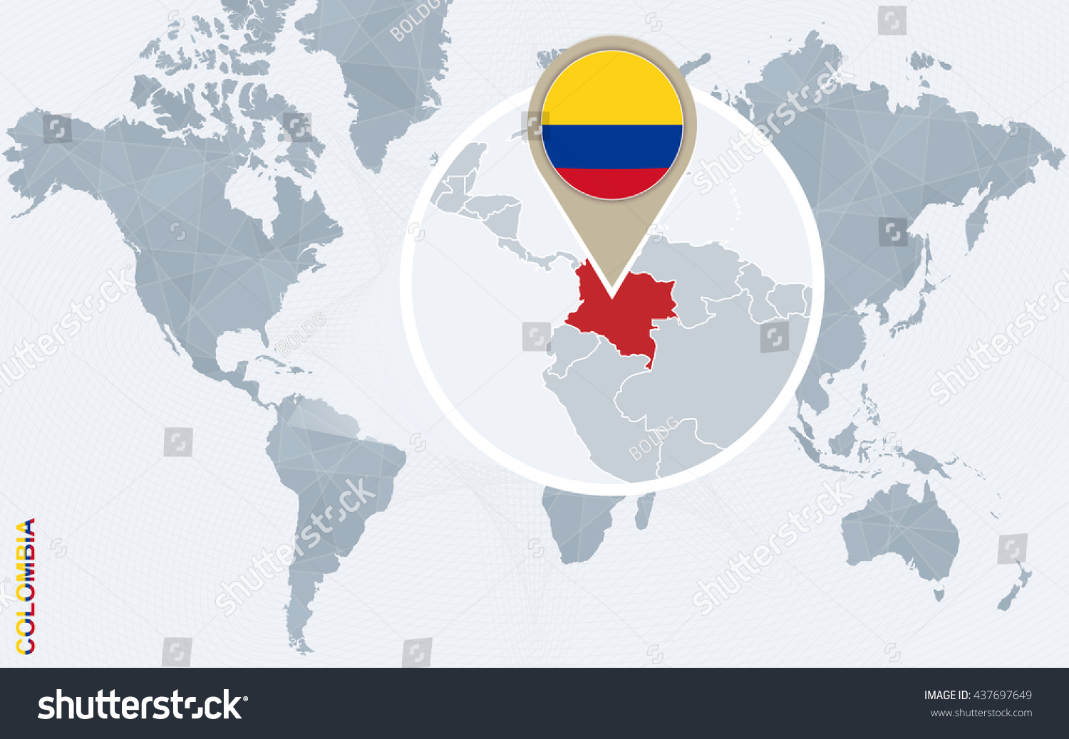 Abstract Blue World Map Magnified Colombia Stock Vector (Royalty ...