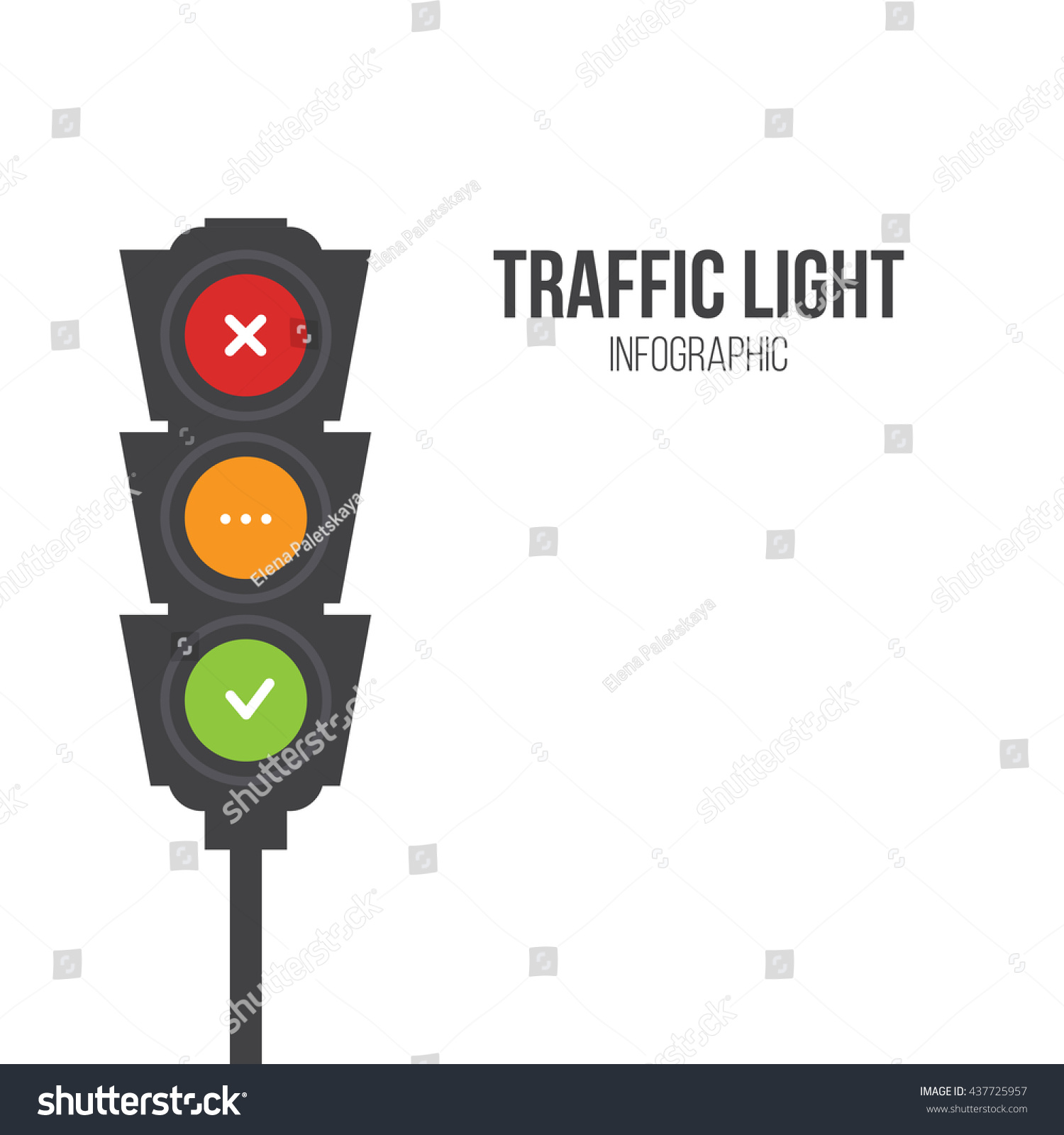 Traffic light signals Flat illustration Safety infographic Vector image of semaphore with place for your text on white background Yes no and wait
