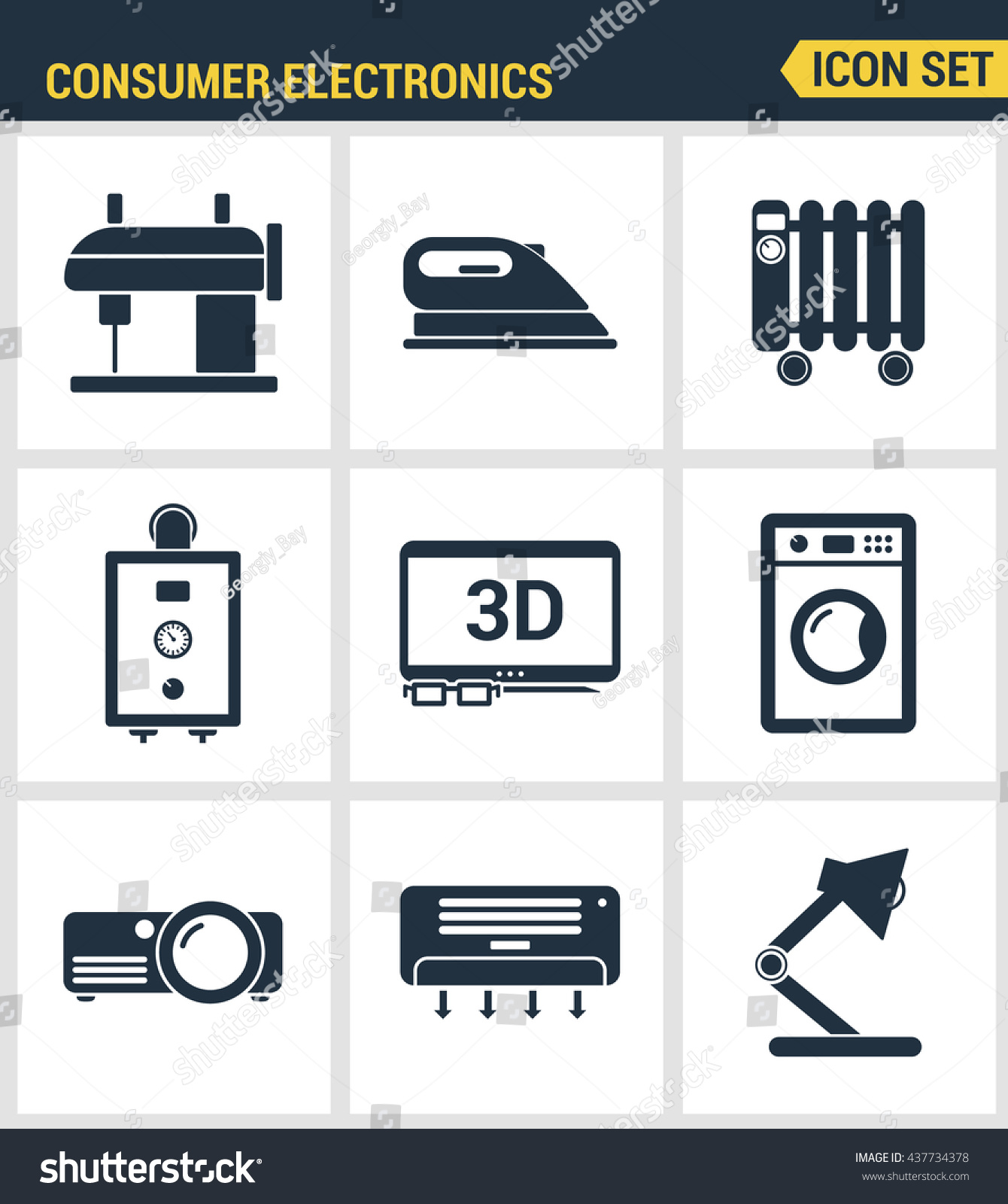 Icons set premium quality home appliances stock vector 437734378 icons set premium quality of home appliances household consumer electronics modern pictogram collection flat biocorpaavc