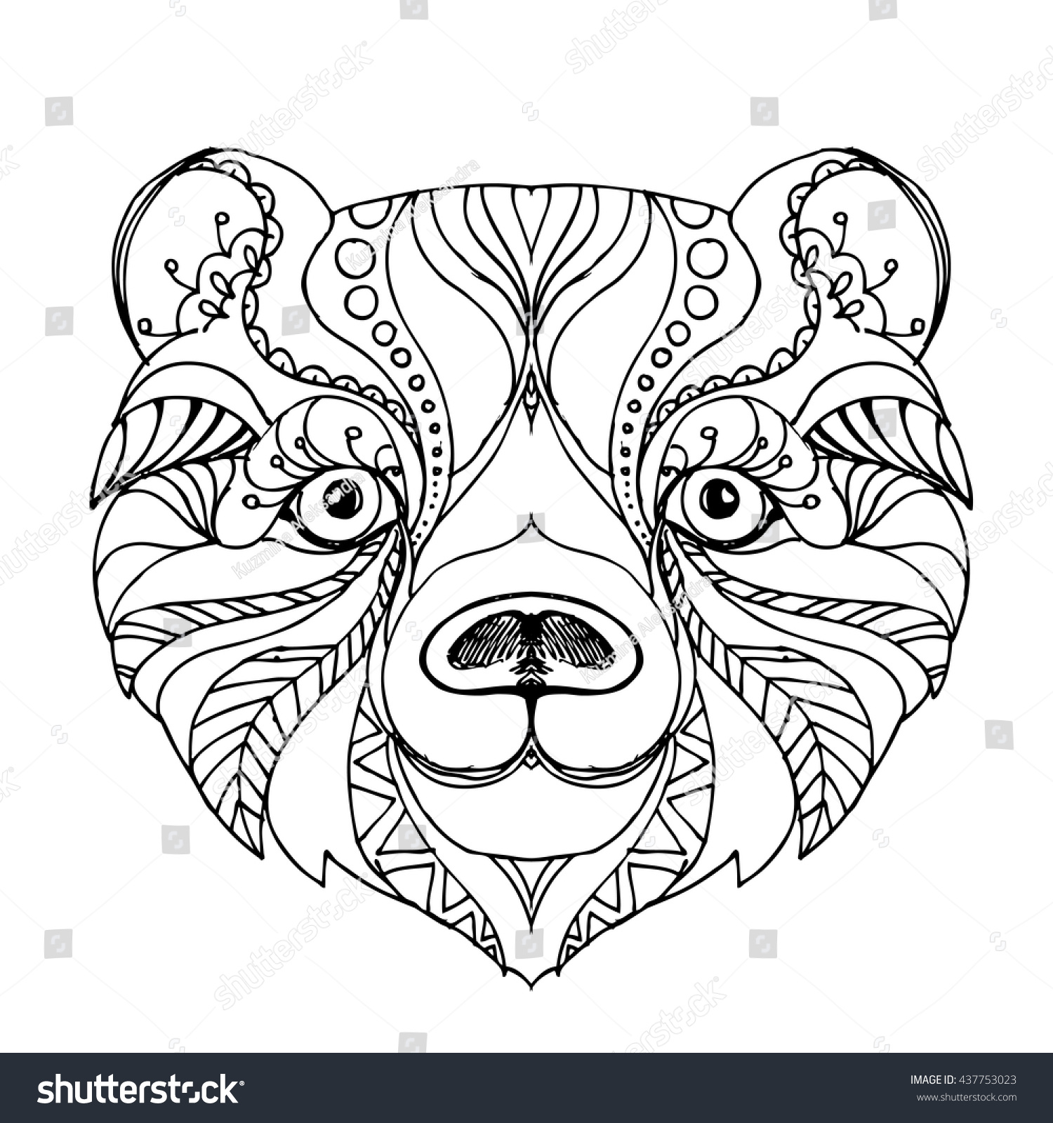 hand drawn ink doodle bear on stock vector 437753023 shutterstock