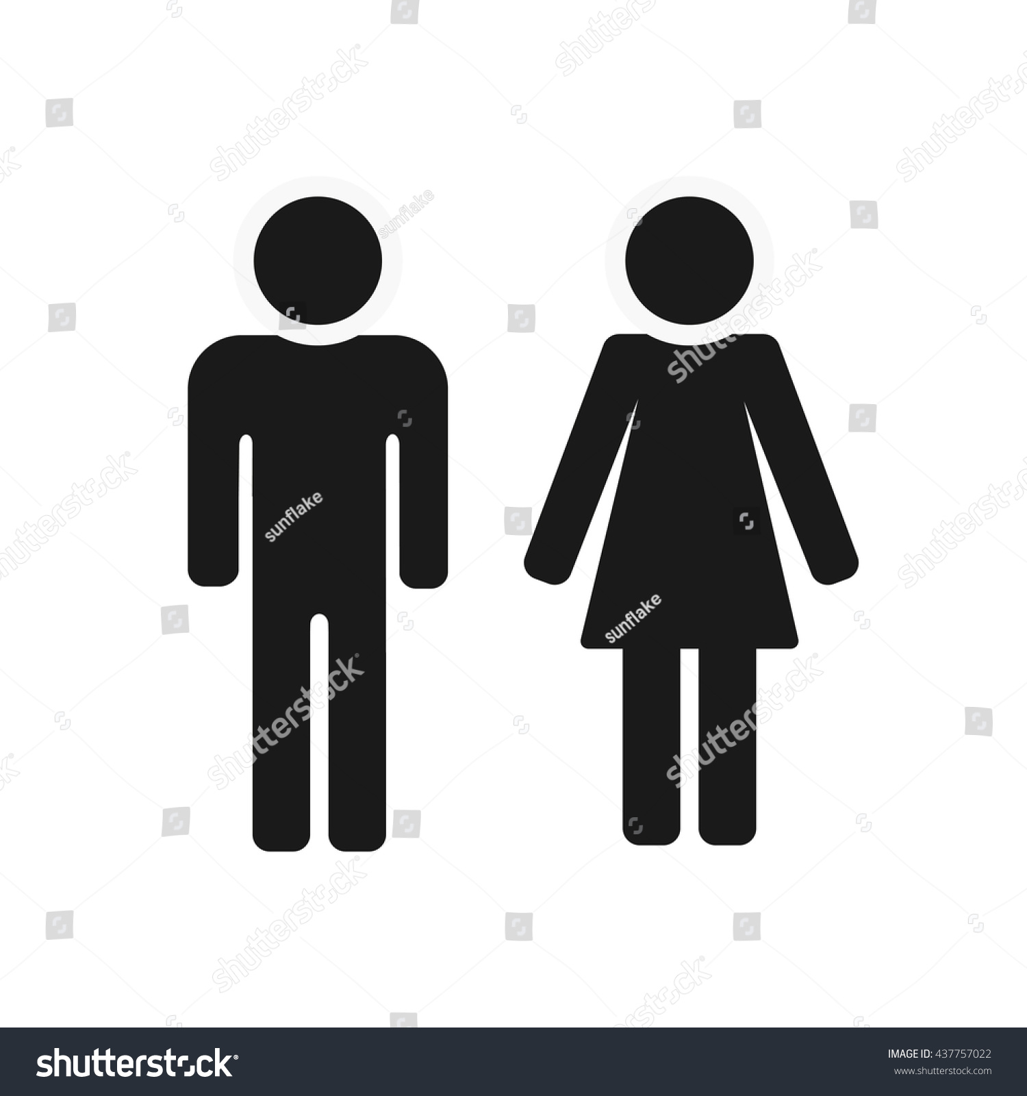 Vector man and woman icons  toilet sign  restroom icon. Vector Man Woman Icons Toilet Sign Stock Vector 437757022