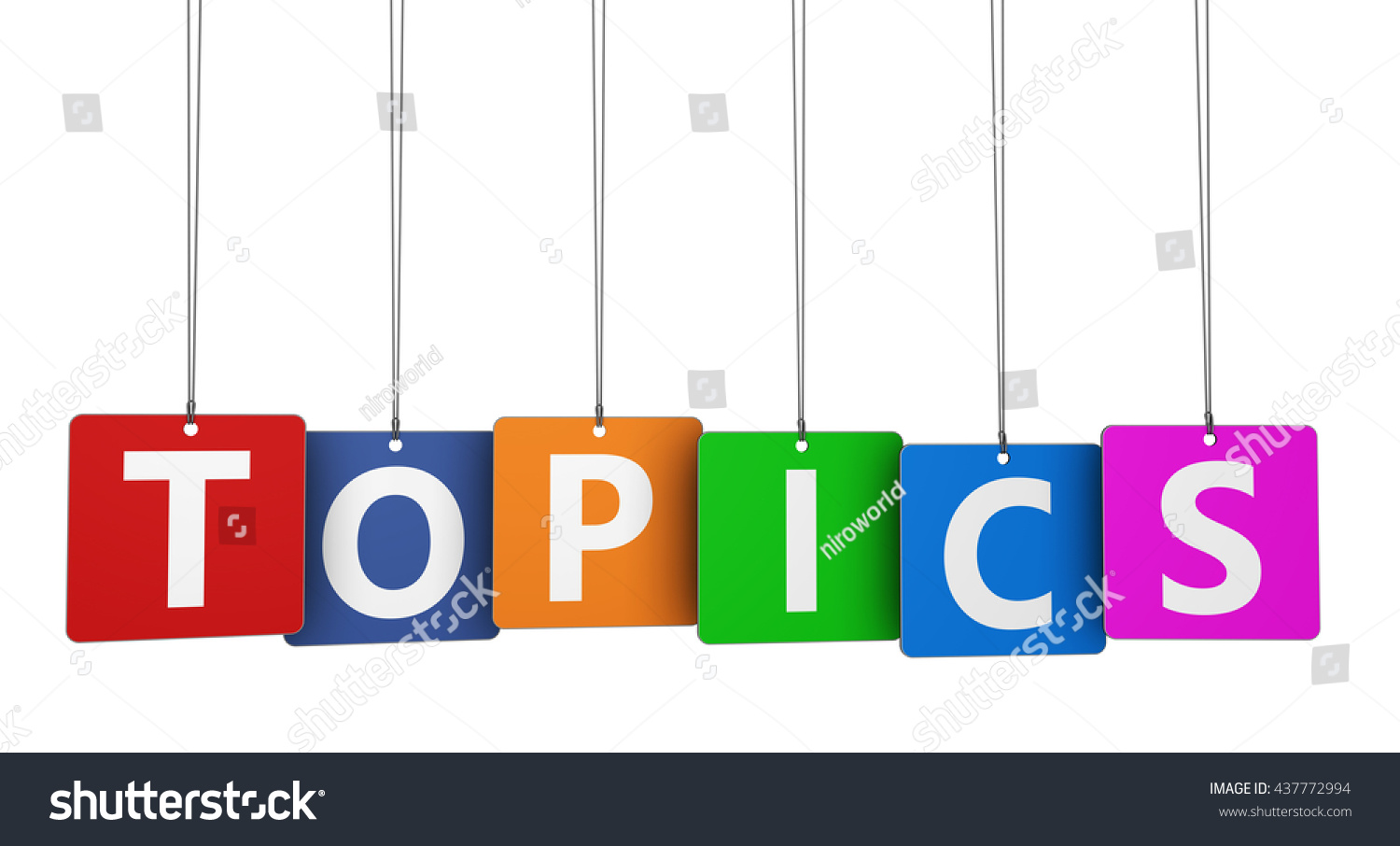 Topics Word Sign On Colorful Paper Stock Illustration 437772994 ...