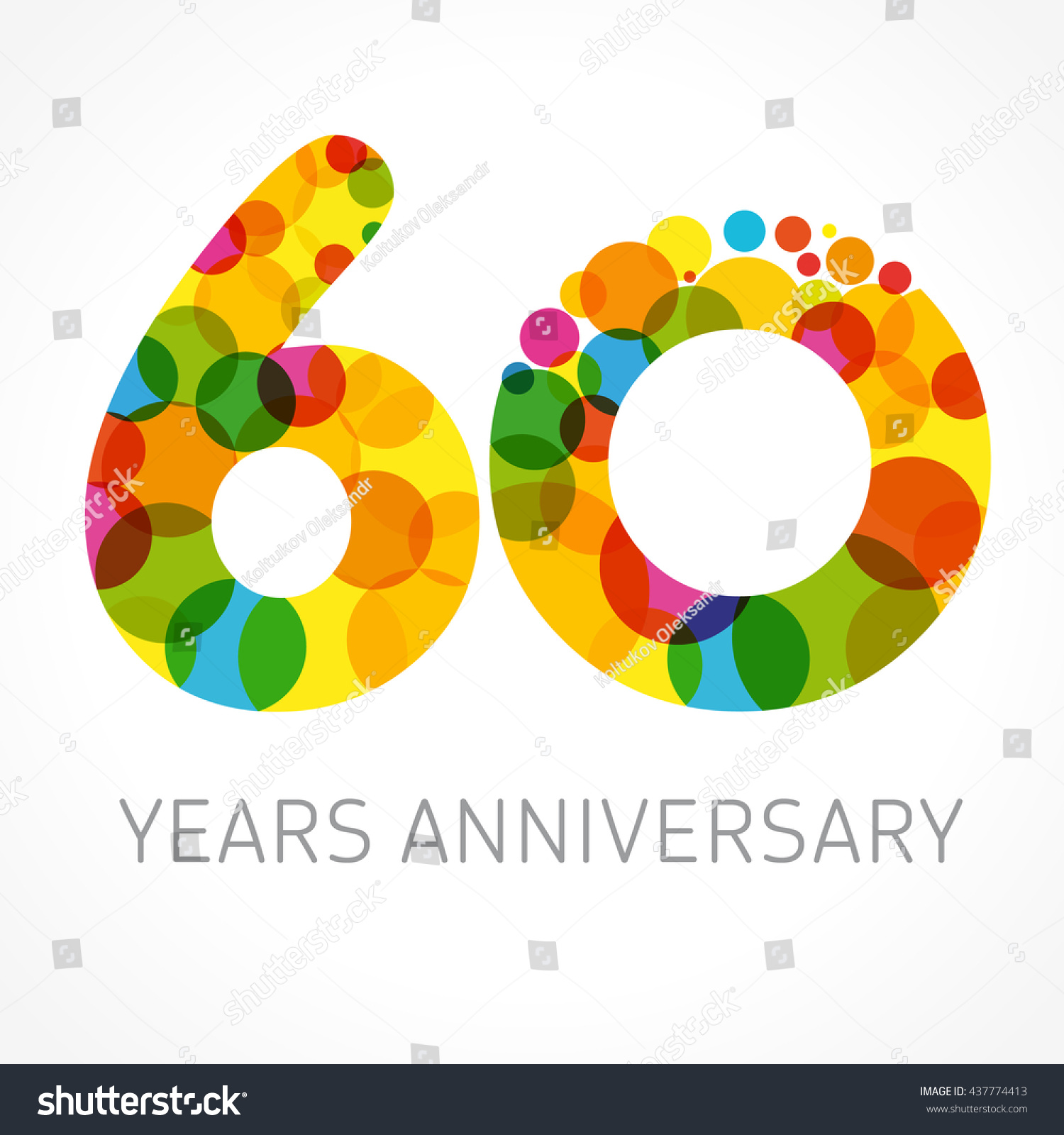 Template logo 60th anniversary circle form stock vector 437774413 shutterstock - Color of th anniversary ...