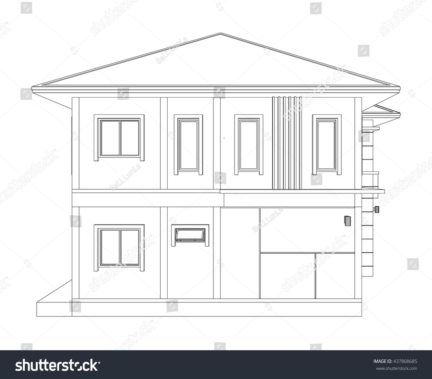 Blueprint drawing 3d home building side stock vector for Building houses with side views