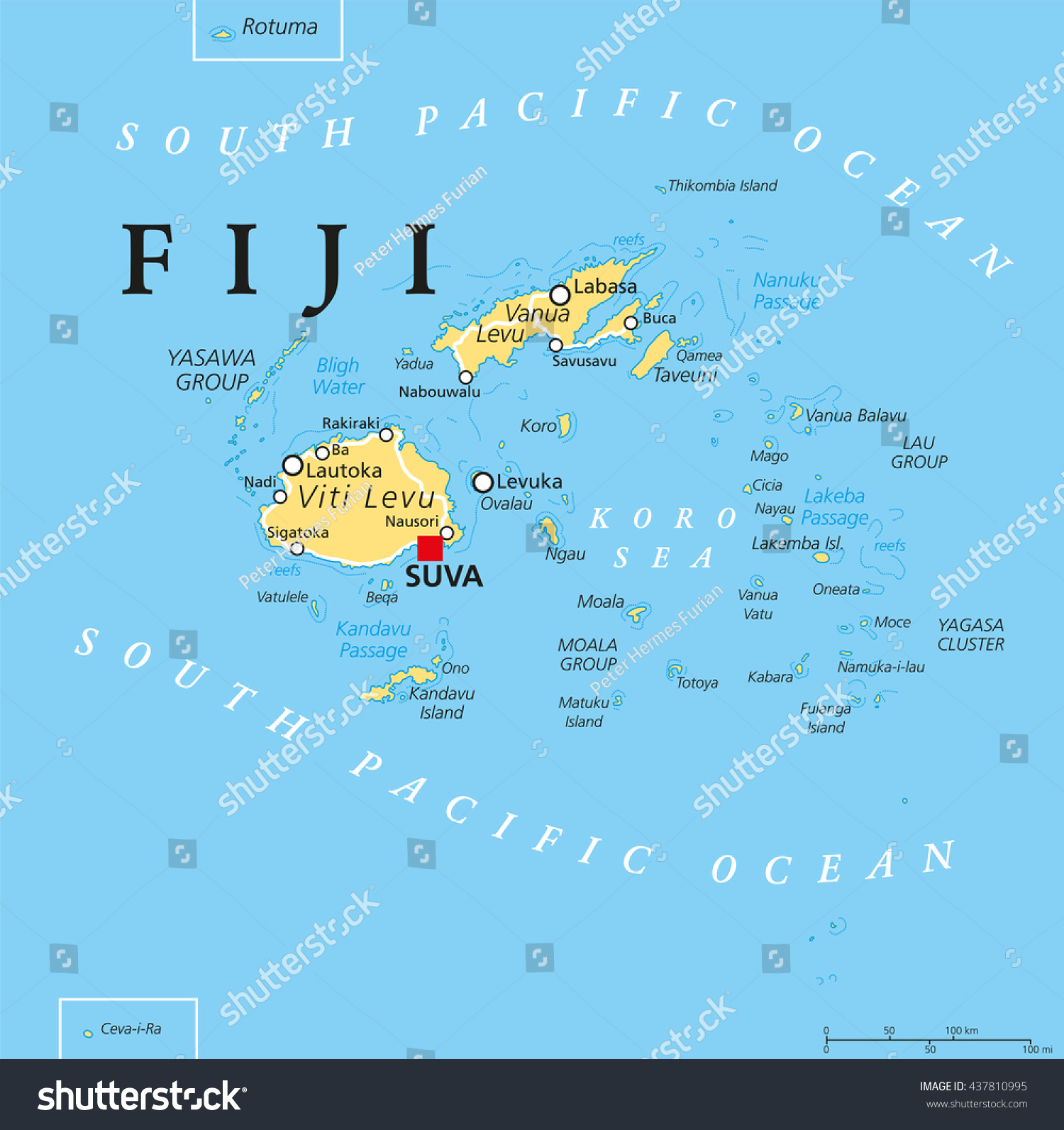 fiji political map with capital suva islands important cities and reefsenglish labeling. fiji political map capital suva islands stock vector