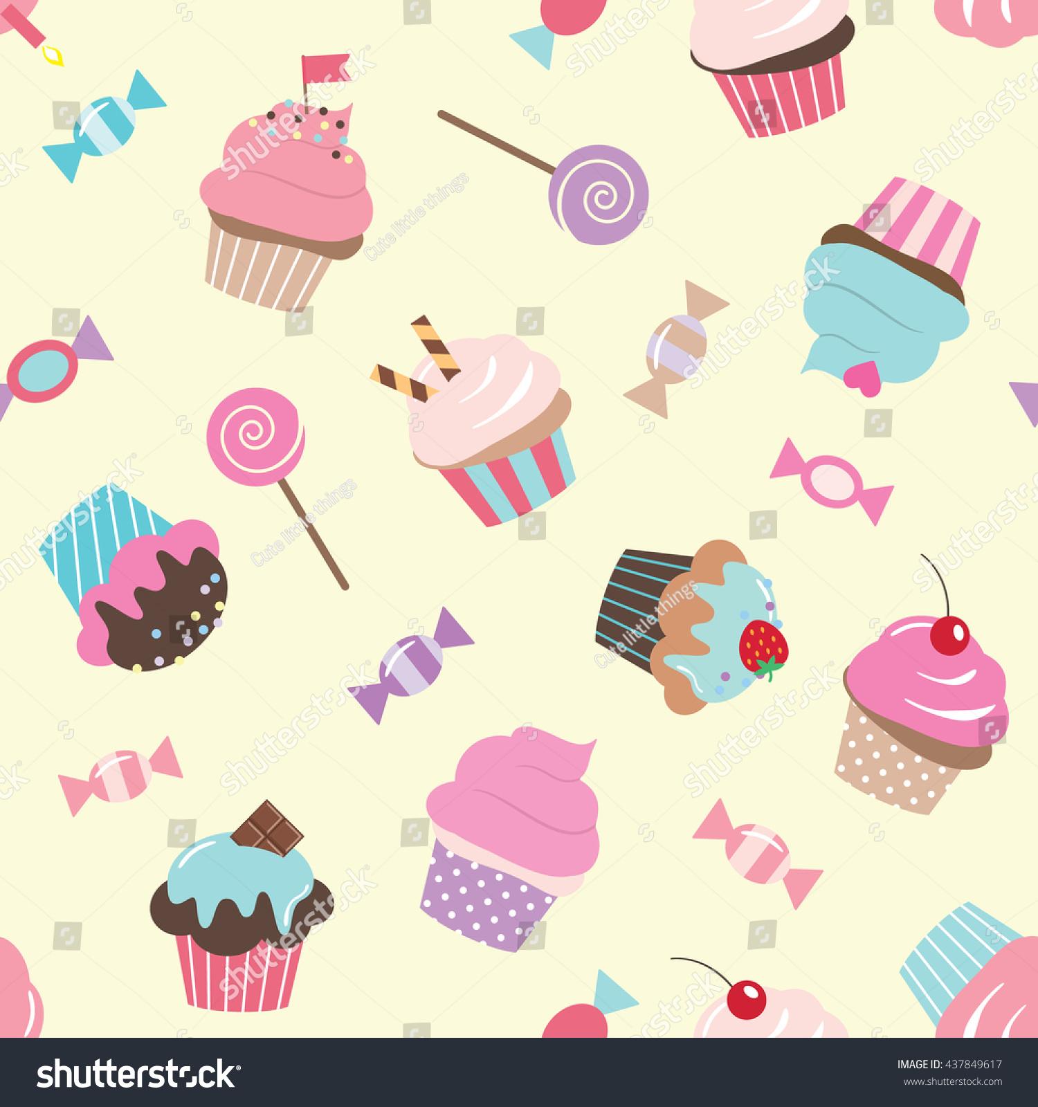 Seamless Pattern Cupcakes Sweets Birthday Scrapbook Stock Vector