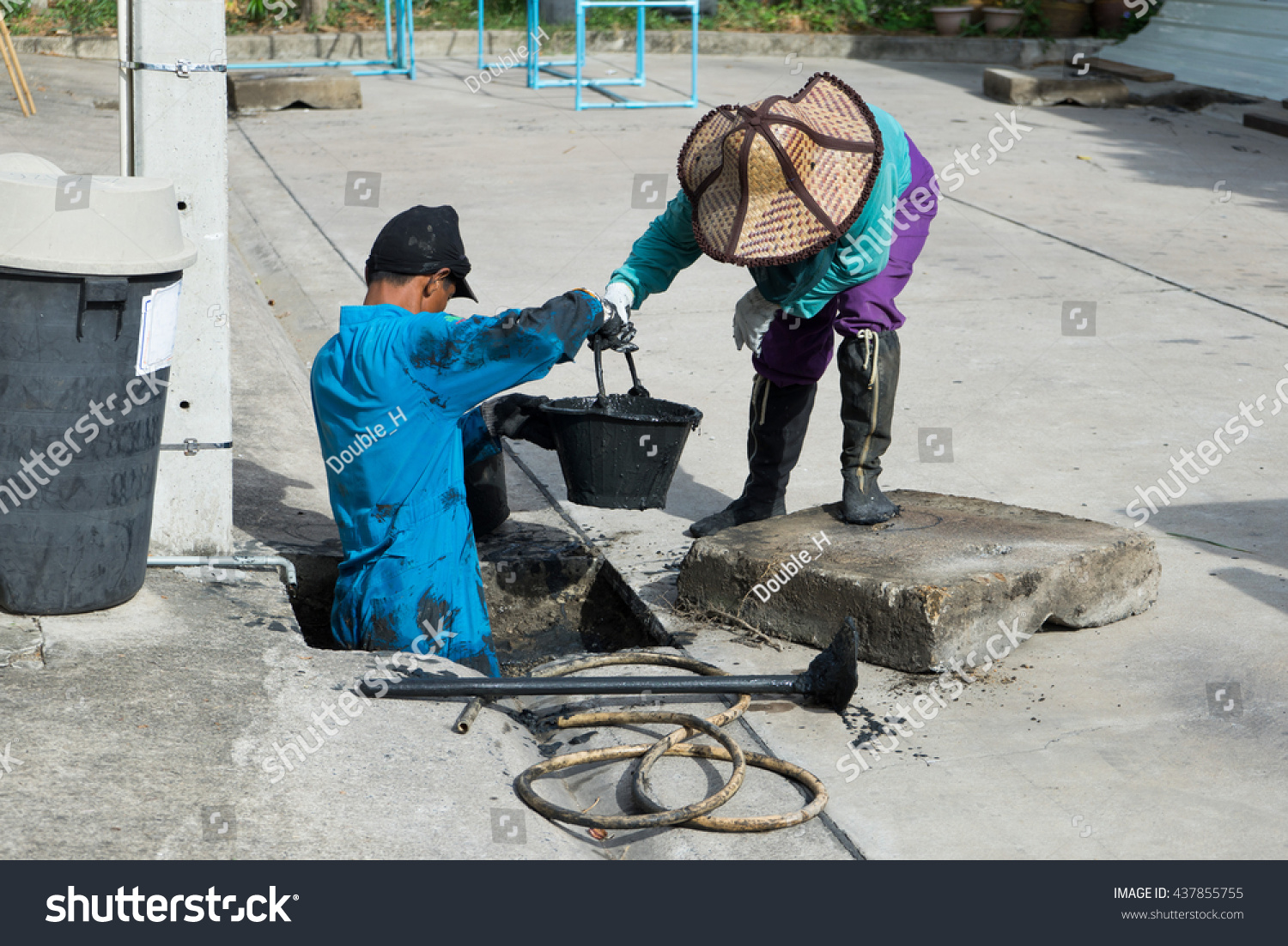 Working Drain Cleaning Problem Drainage System Stock Photo