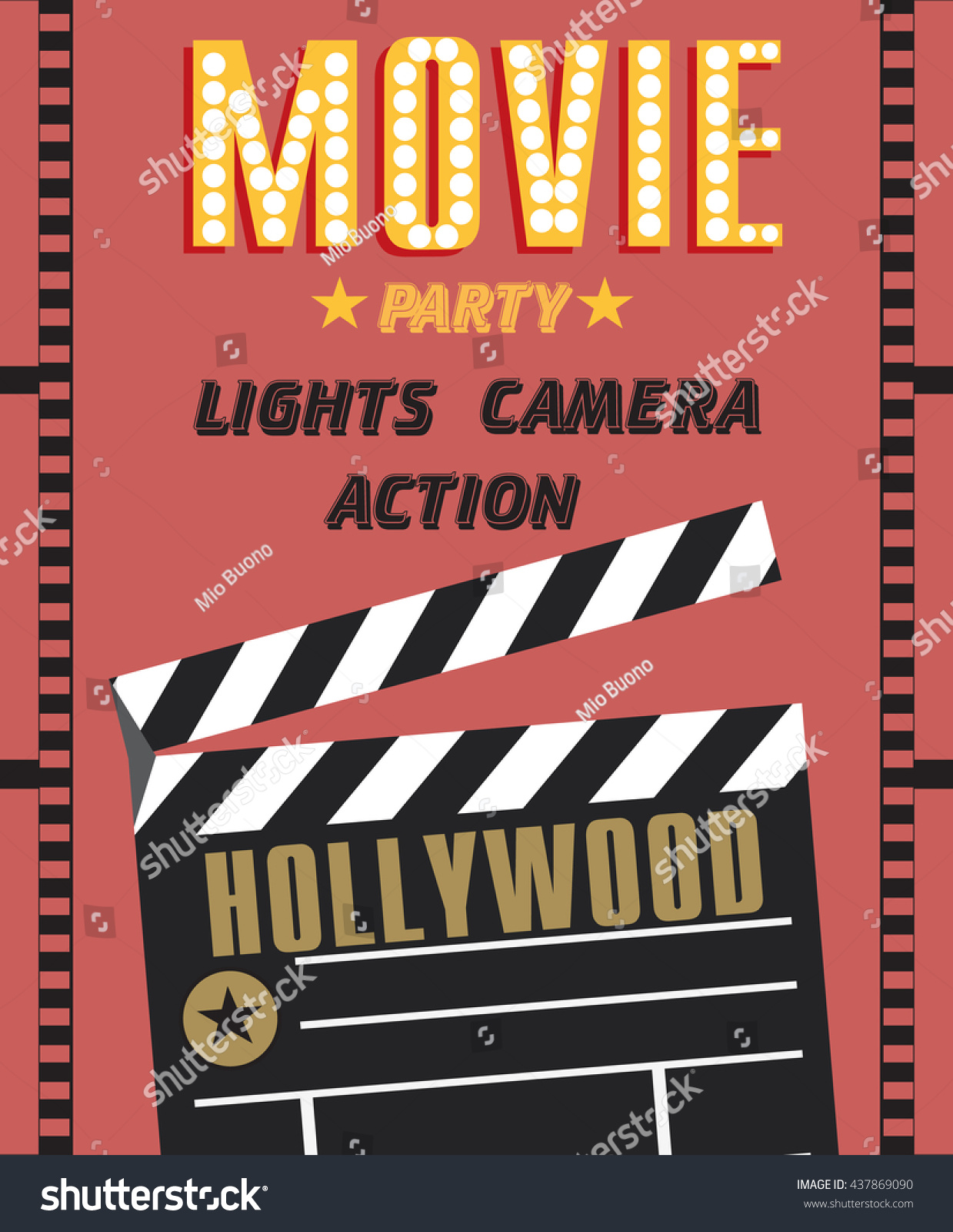 Movie Party Hollywood Party Invitation Card Stock Vector 437869090 ...