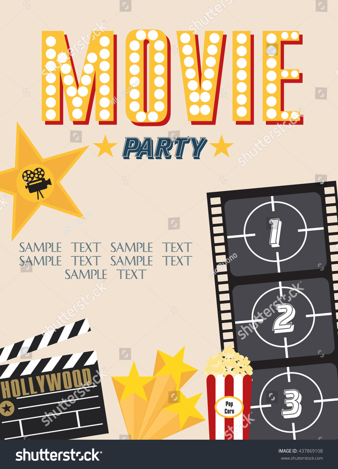 Movie Party Hollywood Party Invitation Card Stock Vector 437869108 ...
