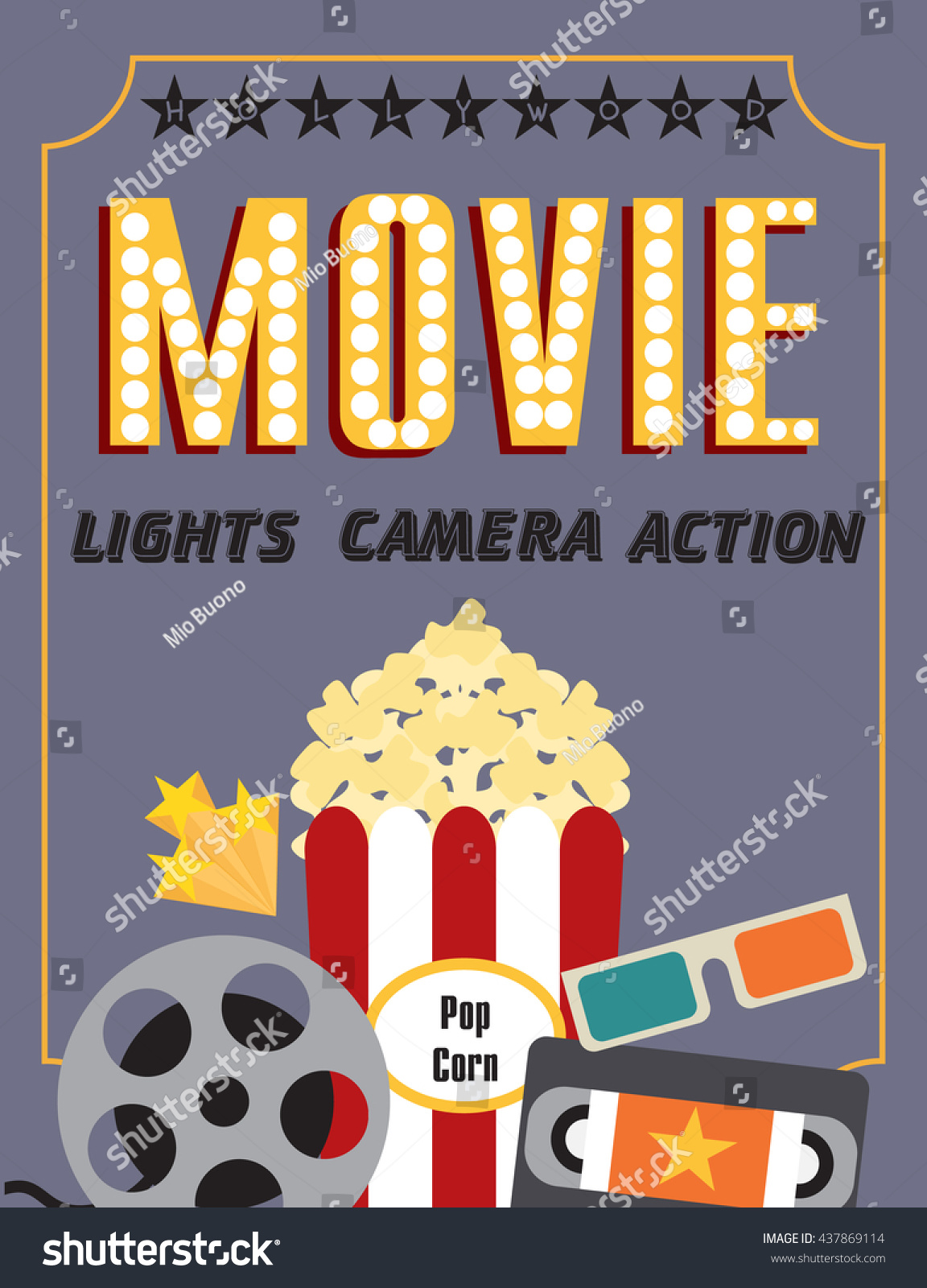 Movie Party Hollywood Party Invitation Card Stock Vector 437869114 ...
