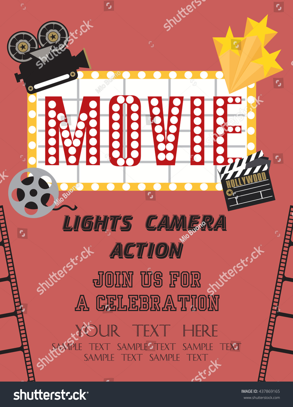 Movie Party Hollywood Party Invitation Card Stock Vector 437869165 ...