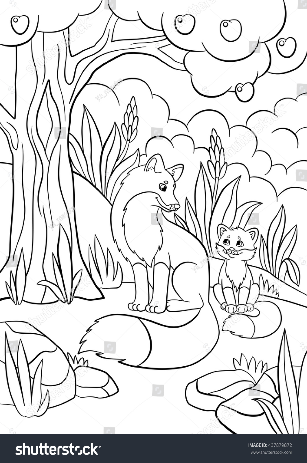 coloring pages wild animals mother fox stock vector 437879872