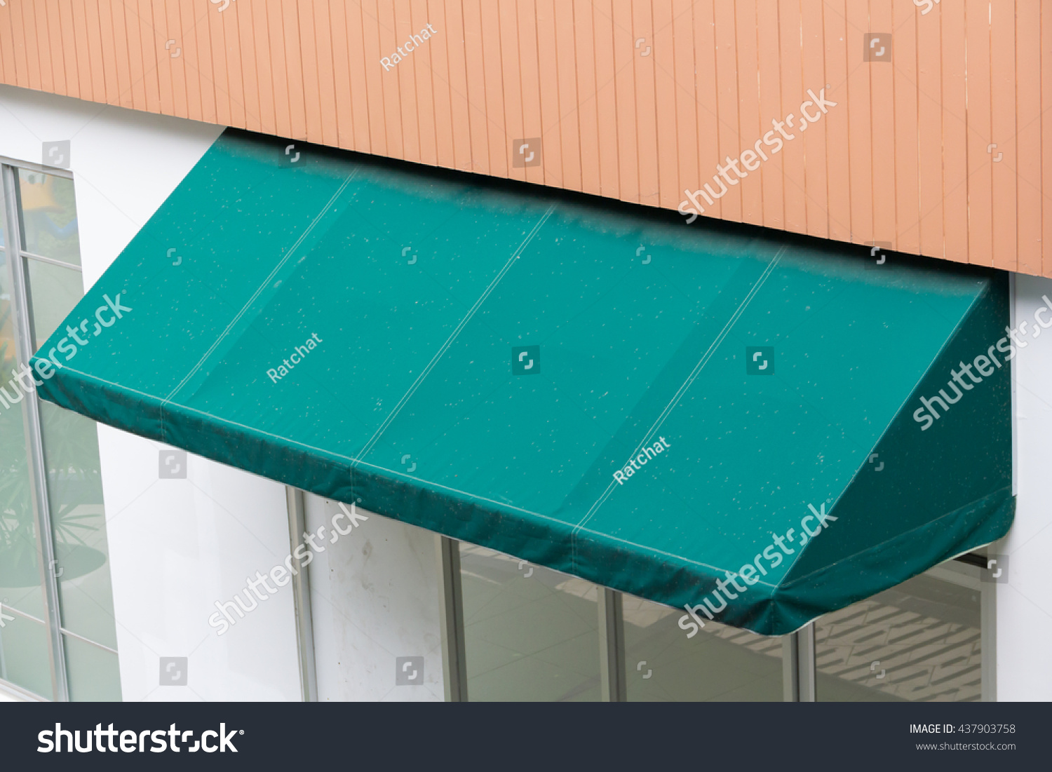 Dirty Green Awning Over Glass Shop Stock Photo 437903758