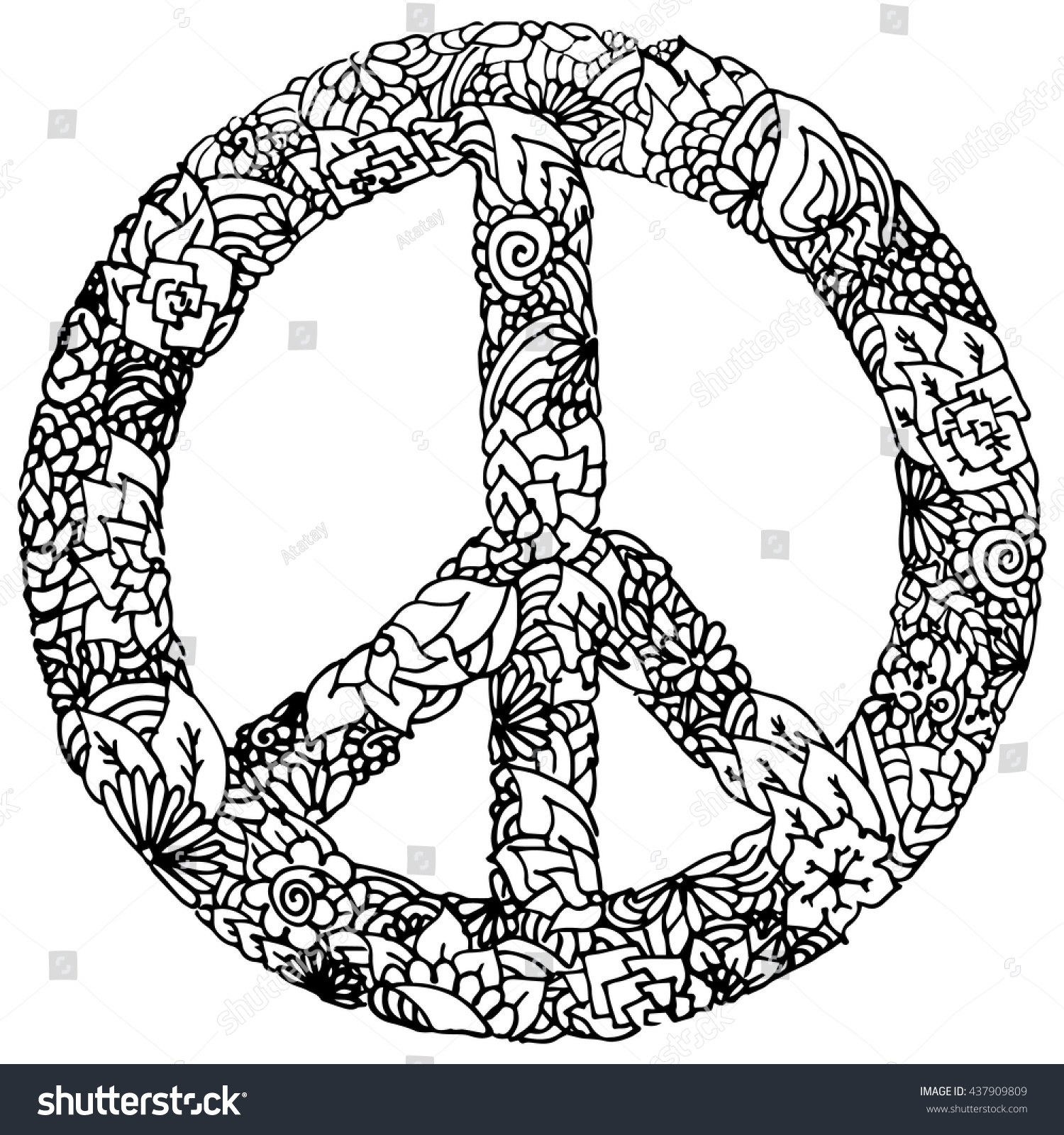 Handdrawing Graphics Peace Sign Style Floral Stock Vector Royalty