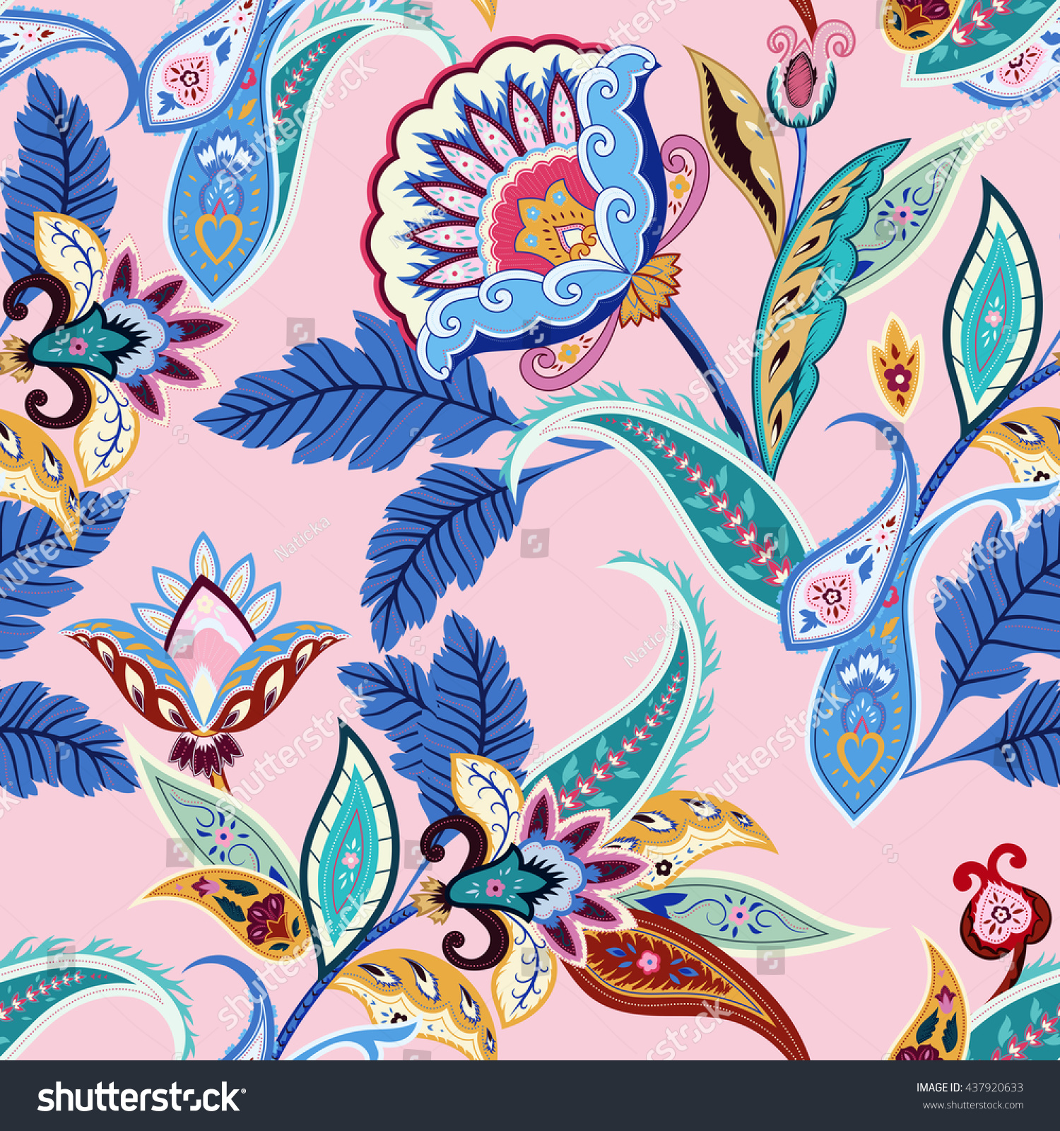 India seamless paisley pattern retro stylized stock vector - 80 s floral wallpaper ...