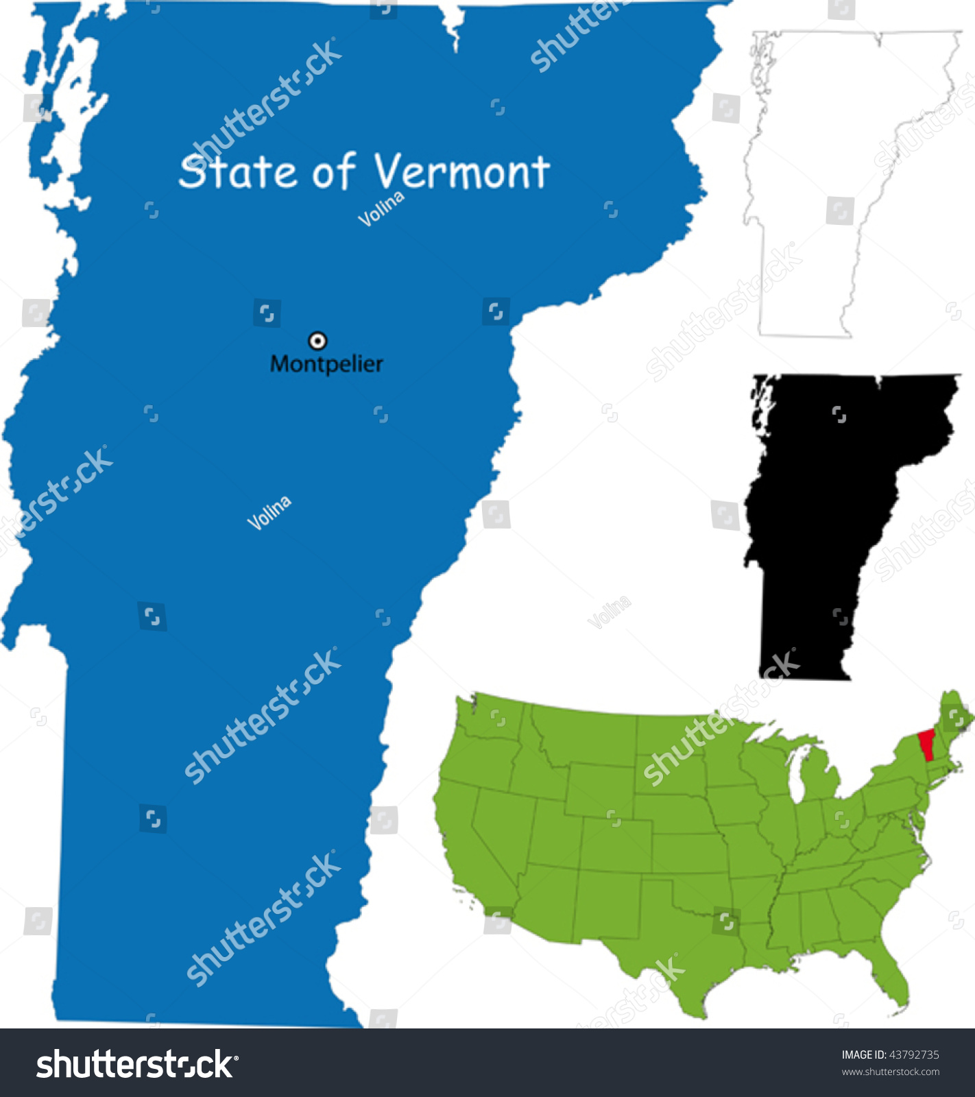 State Of Vermont Usa Stock Vector Illustration - Usa maps vermont