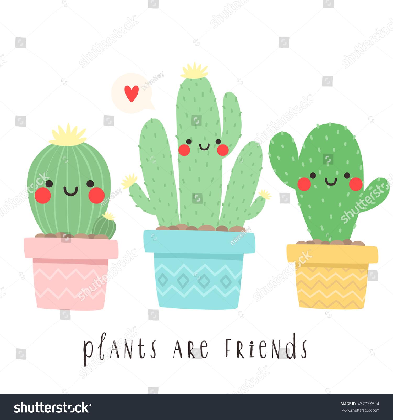set three cute cartoon cactus funny stock vector 437938594 shutterstock. Black Bedroom Furniture Sets. Home Design Ideas