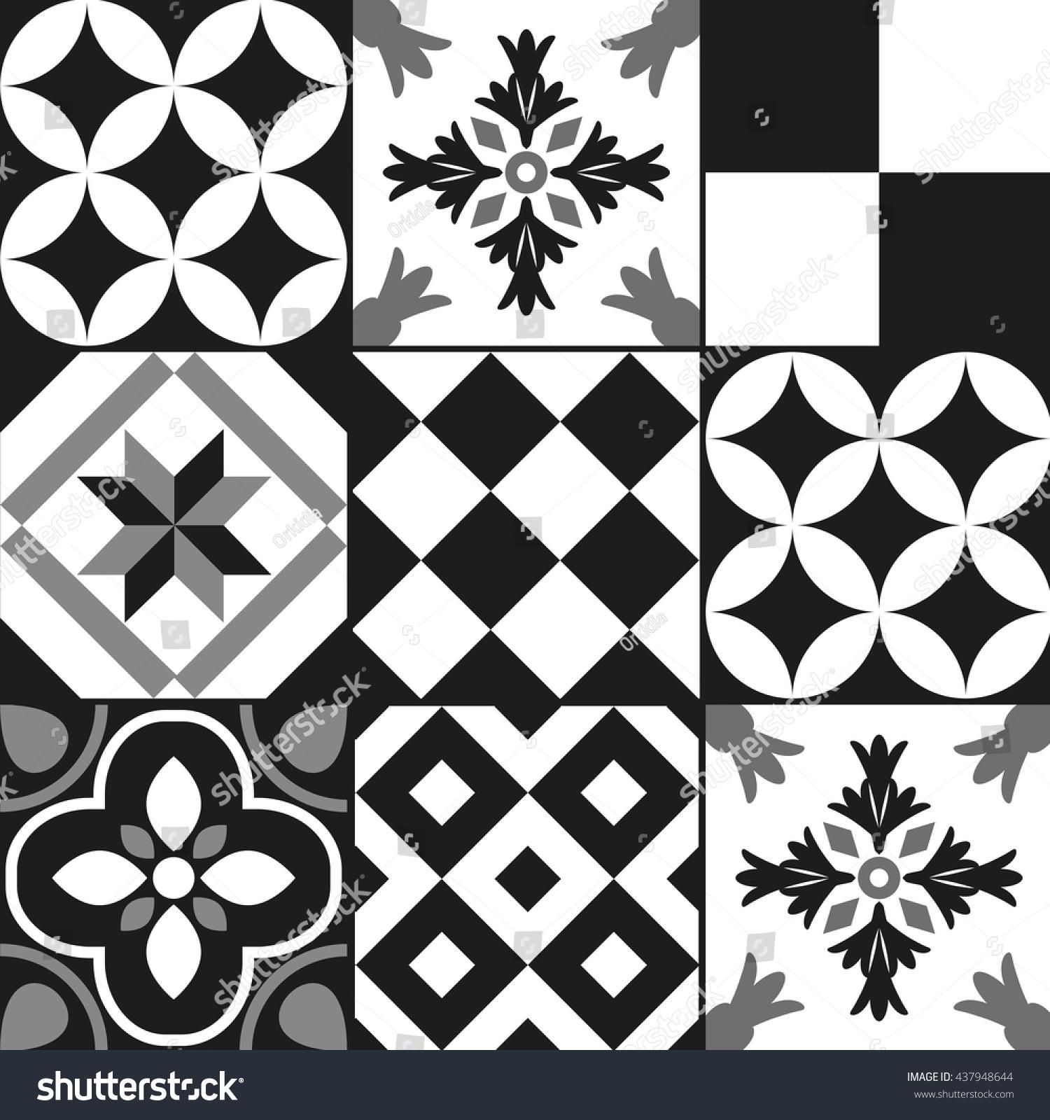 Black white cement tile background design stock vector for White cement tiles