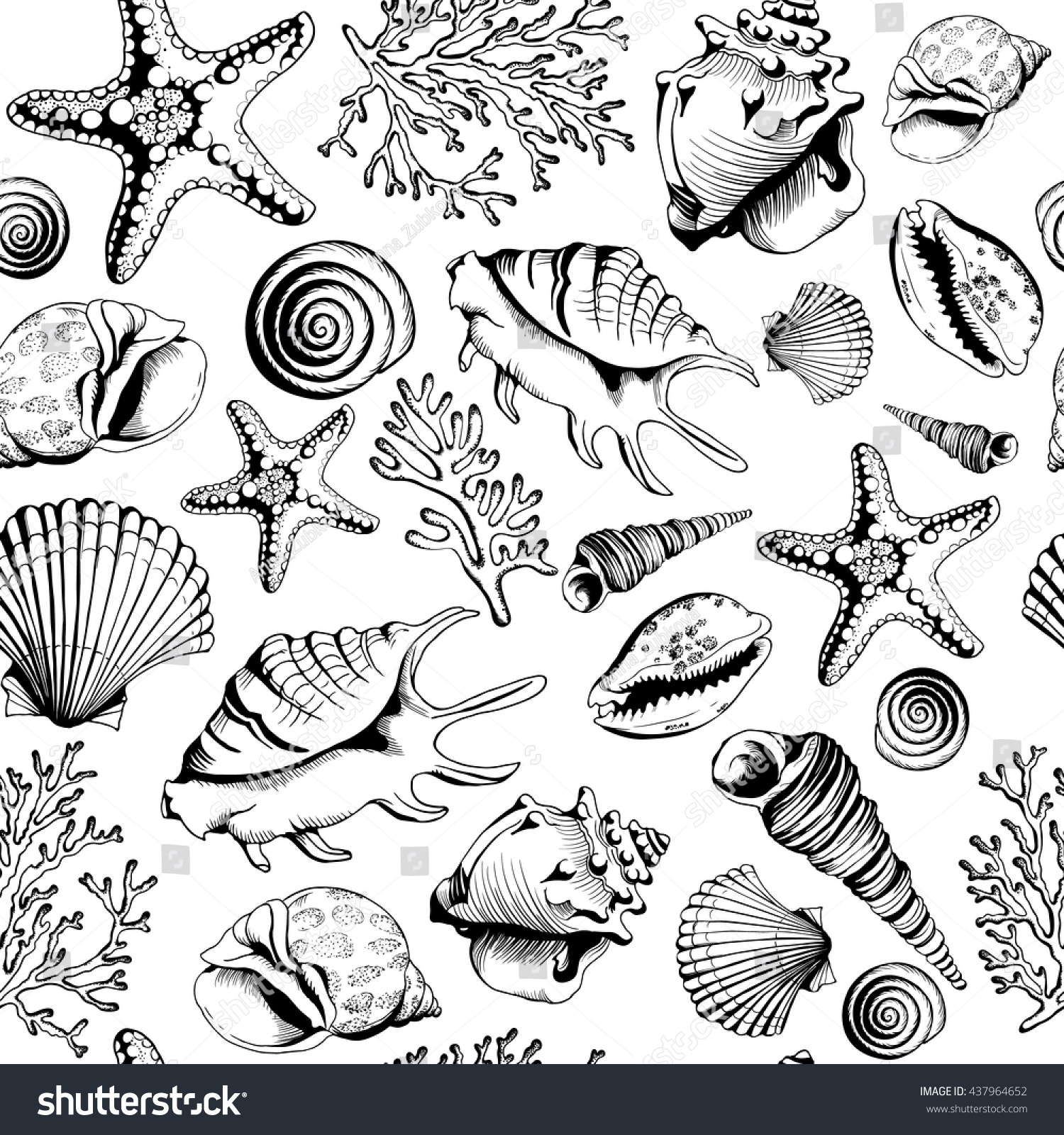 seamless blackwhite pattern seashells corals starfishes stock