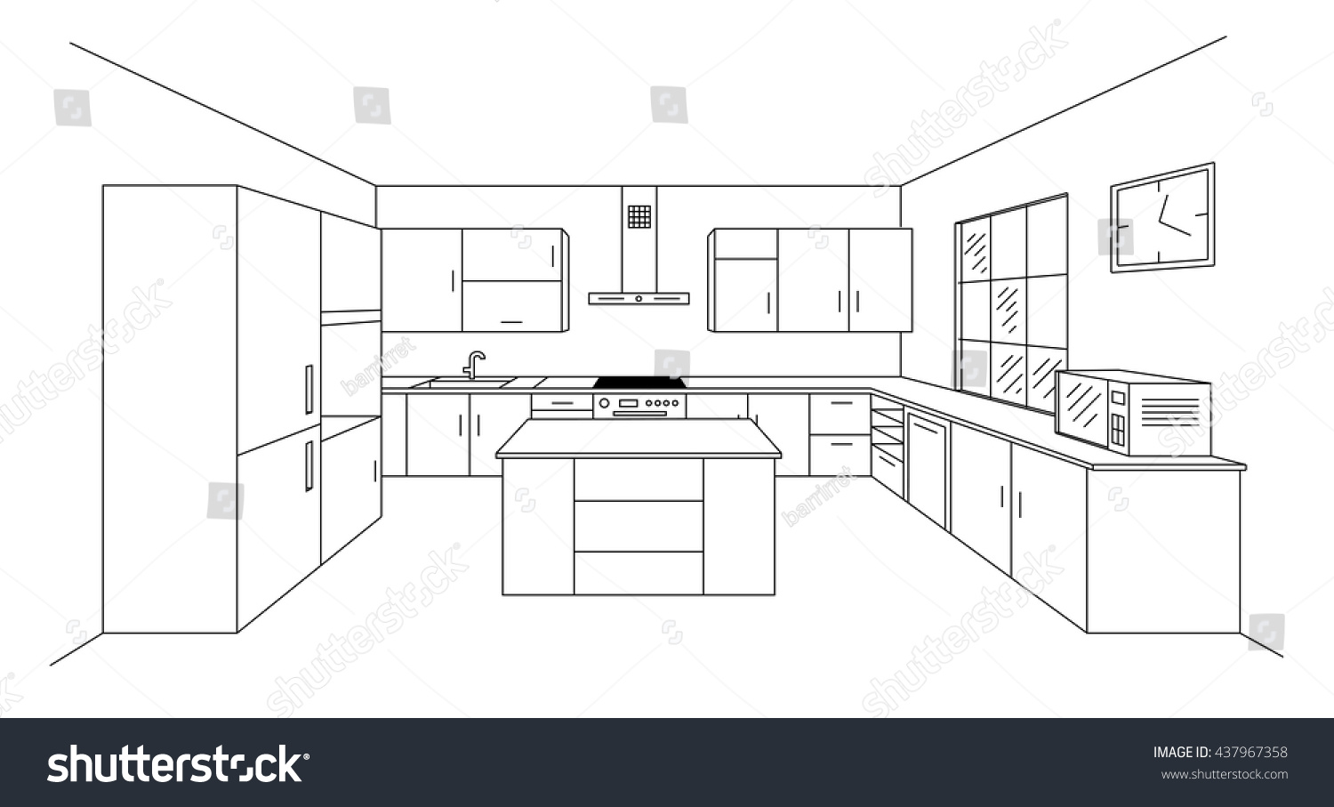 Sketch Modern Kitchen Plan With Island. Single Point Perspective Line  Drawing. Kitchen Project Interior