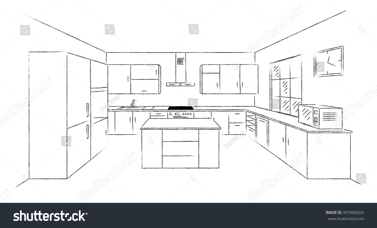Sketch Hand Drawing Kitchen Interior Plan With Island Vector Kitchen Project Illustration In