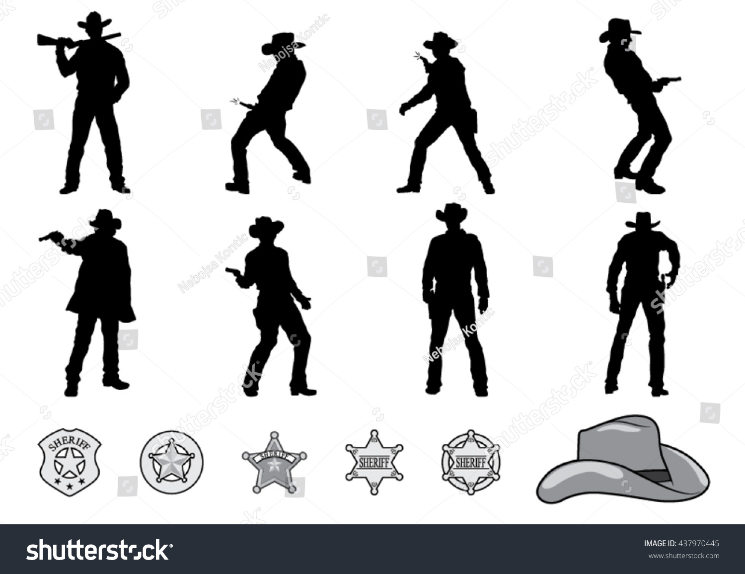 silhouettes western cowboys sheriff badge vector stock vector