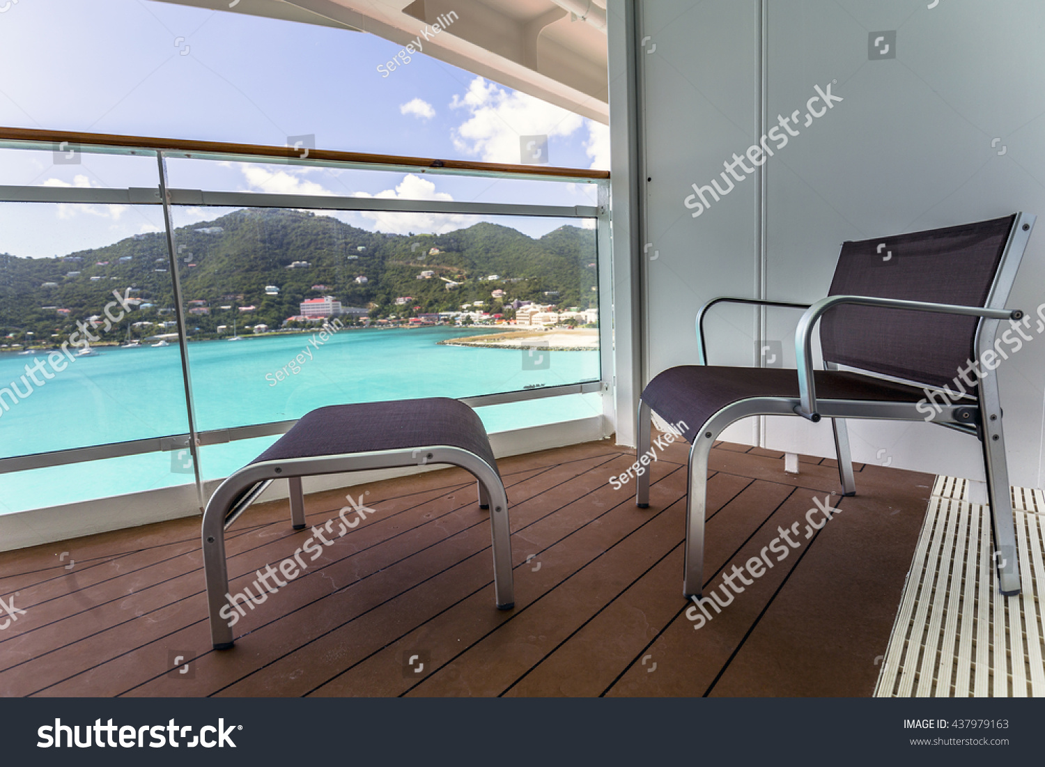 Balcony view on the cruise ship stock photo 437979163 for Cruise ship balcony view