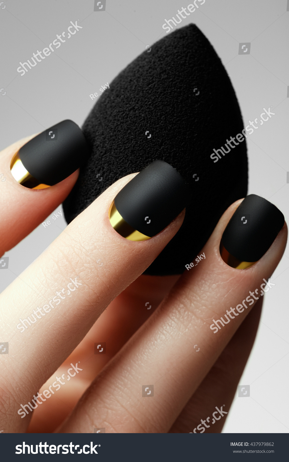 Black Matte Nail Polish Manicured Nail Stock Photo (Royalty Free ...