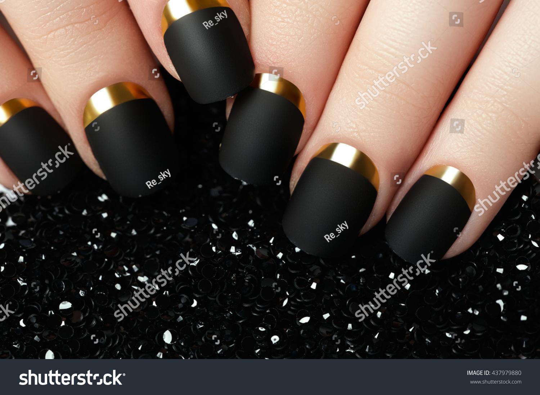 Black Matte Nail Polish Manicured Nail Stock Photo (Royalty Free ...