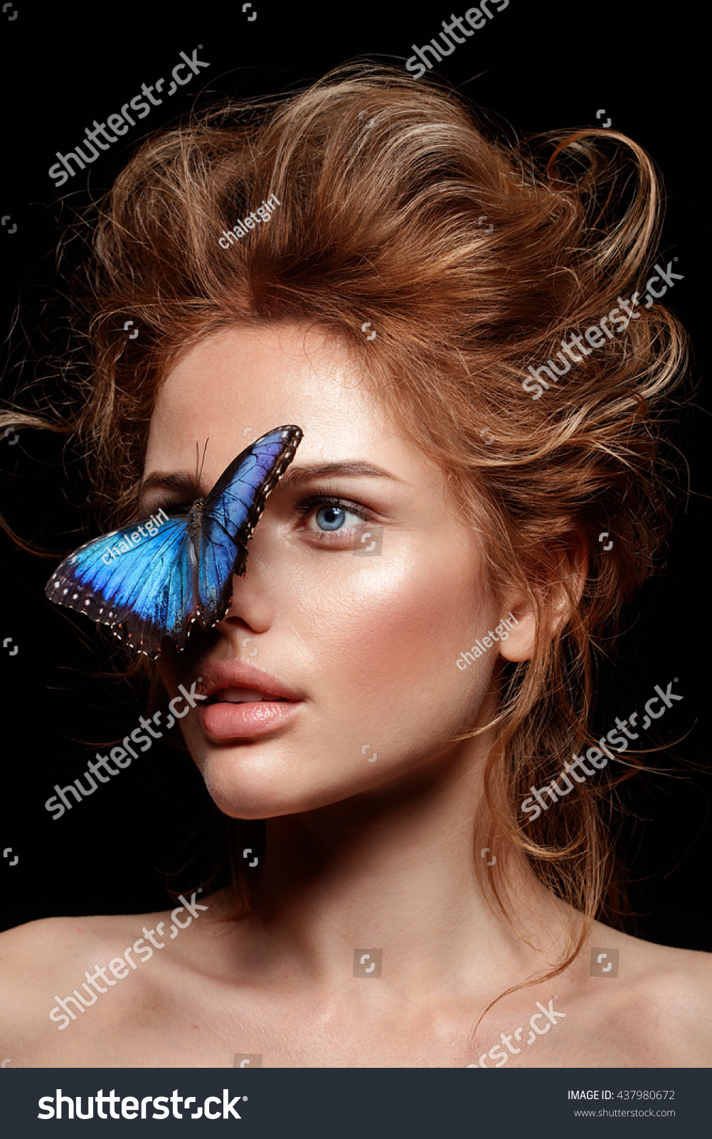 Exotic Butterfly Beautiful Woman Face Perfect Stock Photo Edit Now