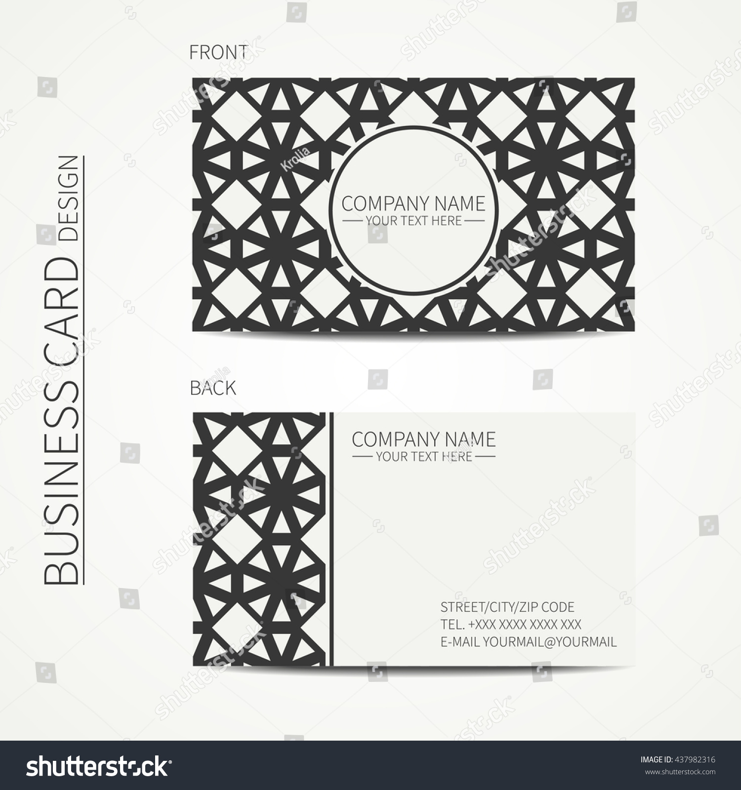 Vector Simple Business Card Design Template Stock Vector (Royalty ...