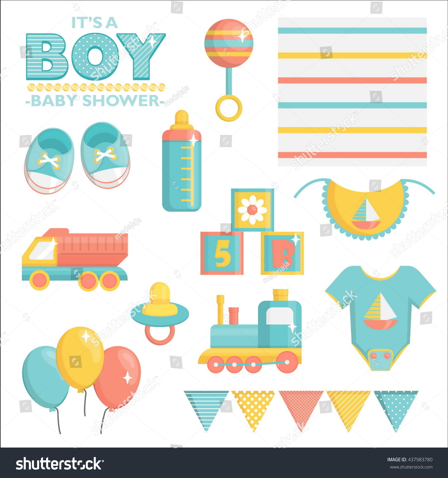 Boy Baby Shower Items Collection Party Stock Vector