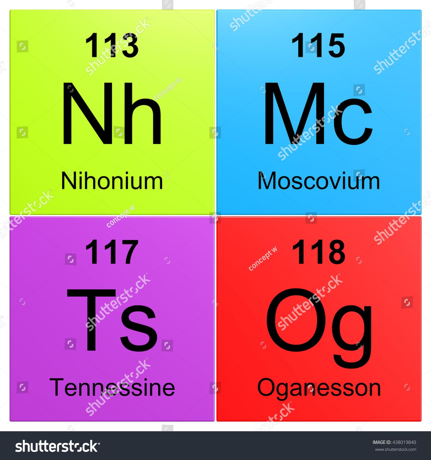 Nihonium 113 moscovium 115 tennessine 115 stock for 118 periodic table
