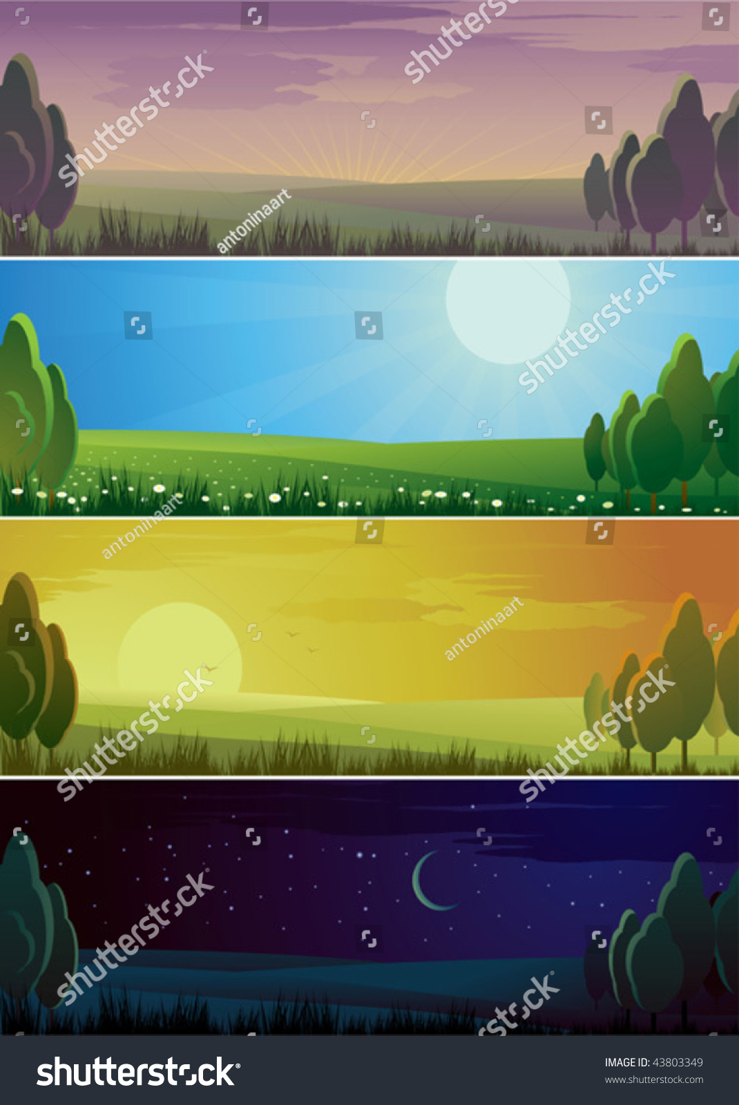 banners showing day sequence morning noon stock vector