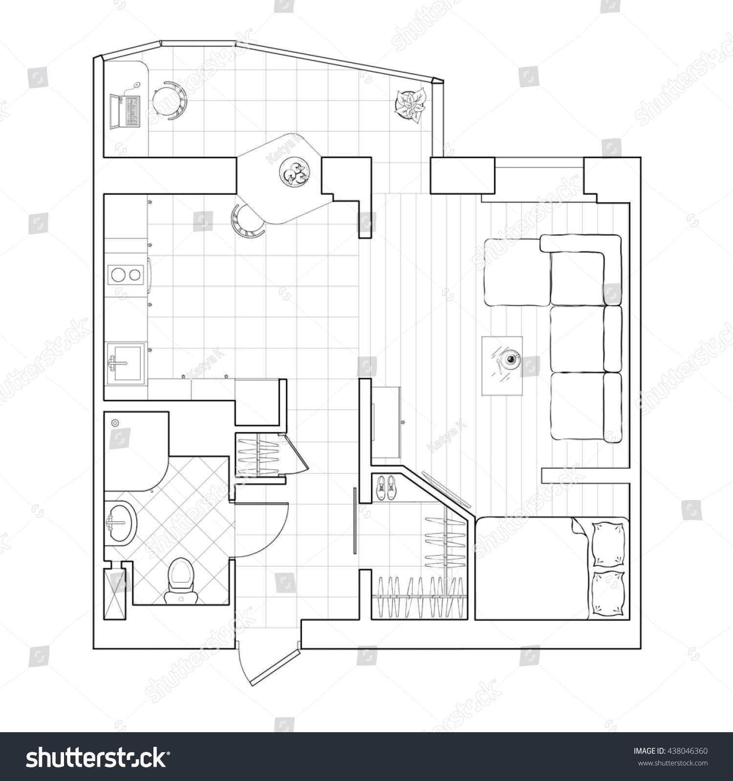 Black White Interior Design Furniture For Floor Plan ~ Floor plan small apartment bedroom flat log