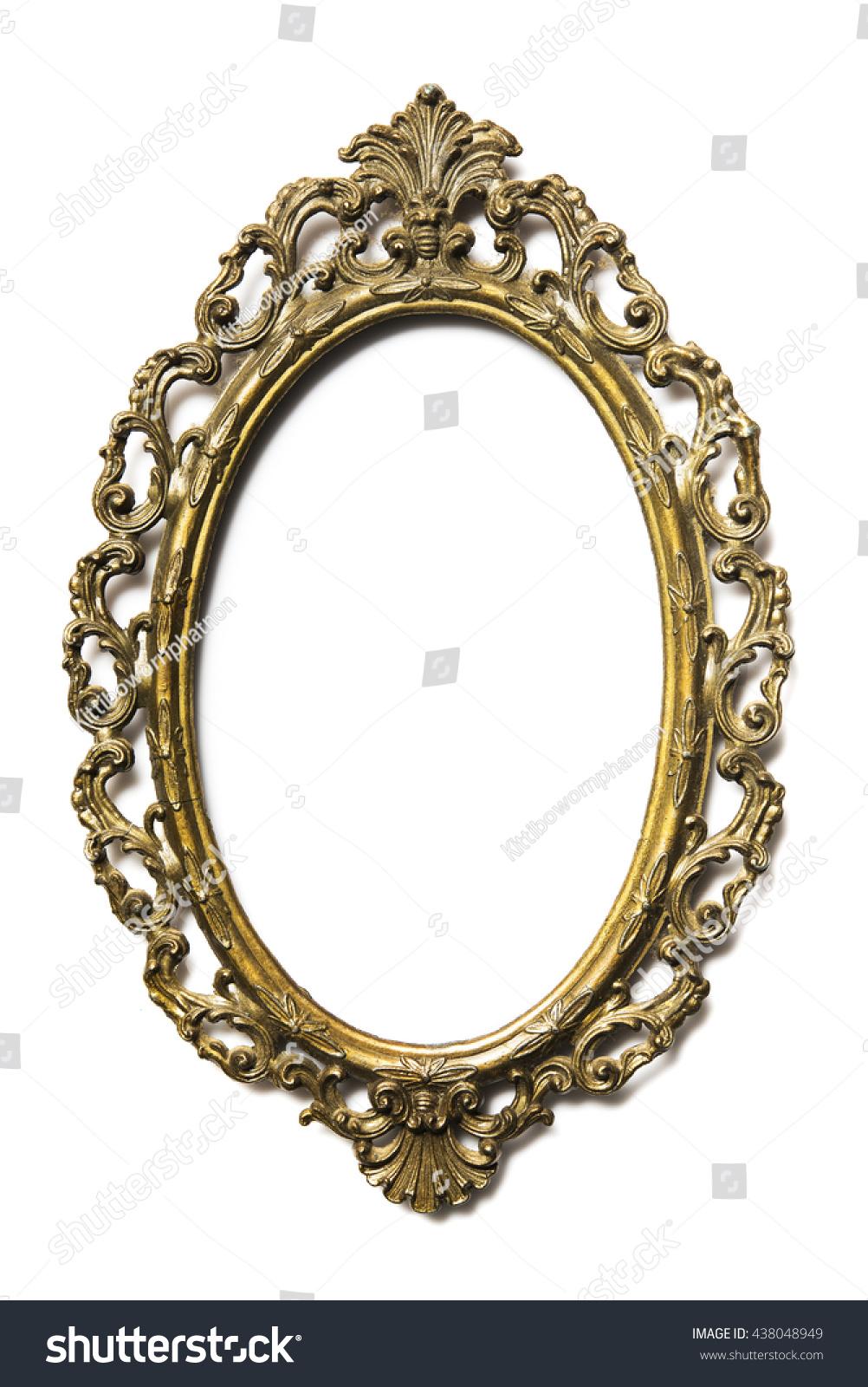 Golden Oval Picture Frame On Background Foto de stock (libre de ...