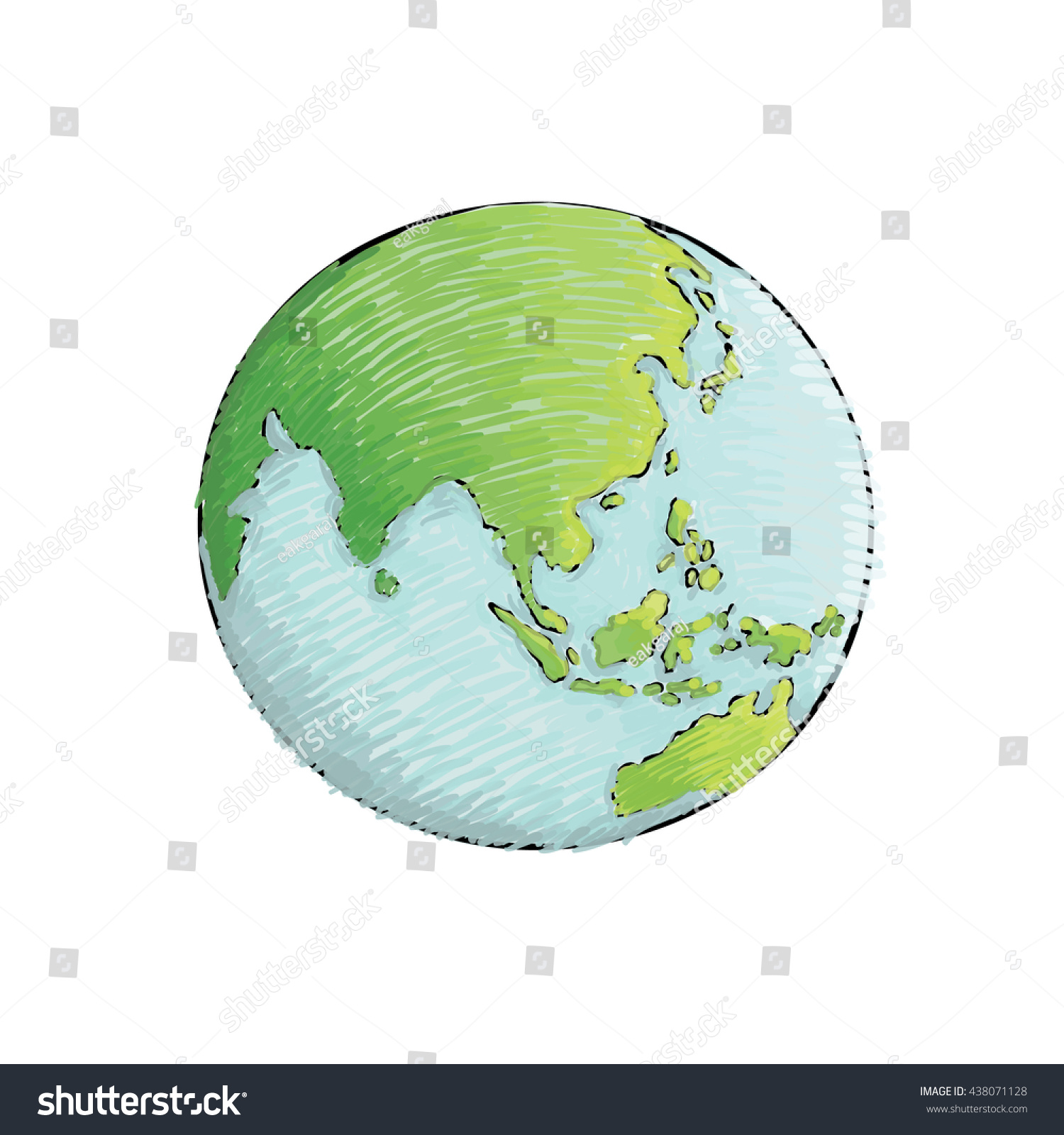 Earth handdrawn on white background world stock vector 438071128 earth hand drawn on white background world map or globe in doodles style gumiabroncs Gallery
