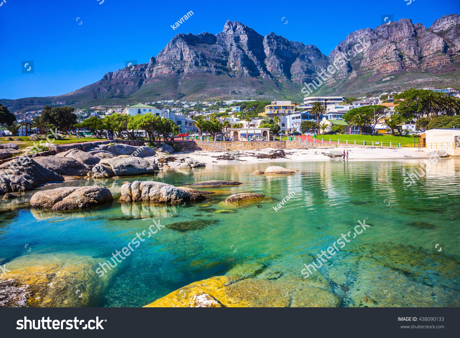Panorama of Cape Town, South Africa. The city beach against magnificent mountains #438090133