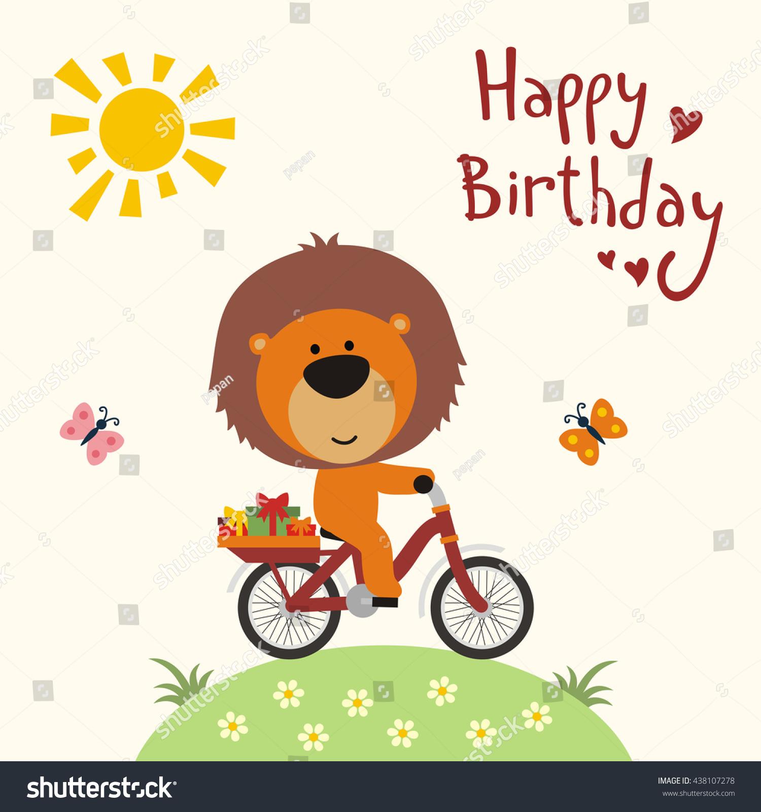 happy birthday funny little lion on stock vector 438107278