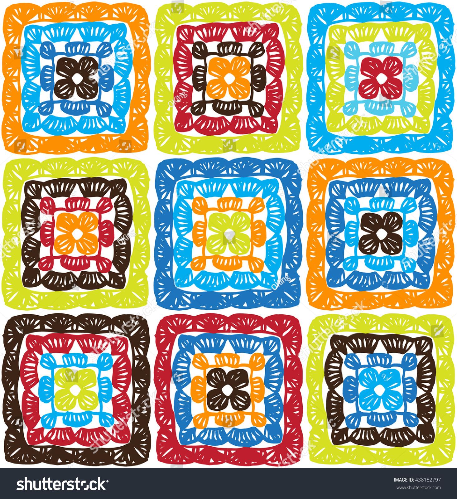 Granny Squares Pattern Ripples Afghan Crochet Stock Vector 438152797 ...