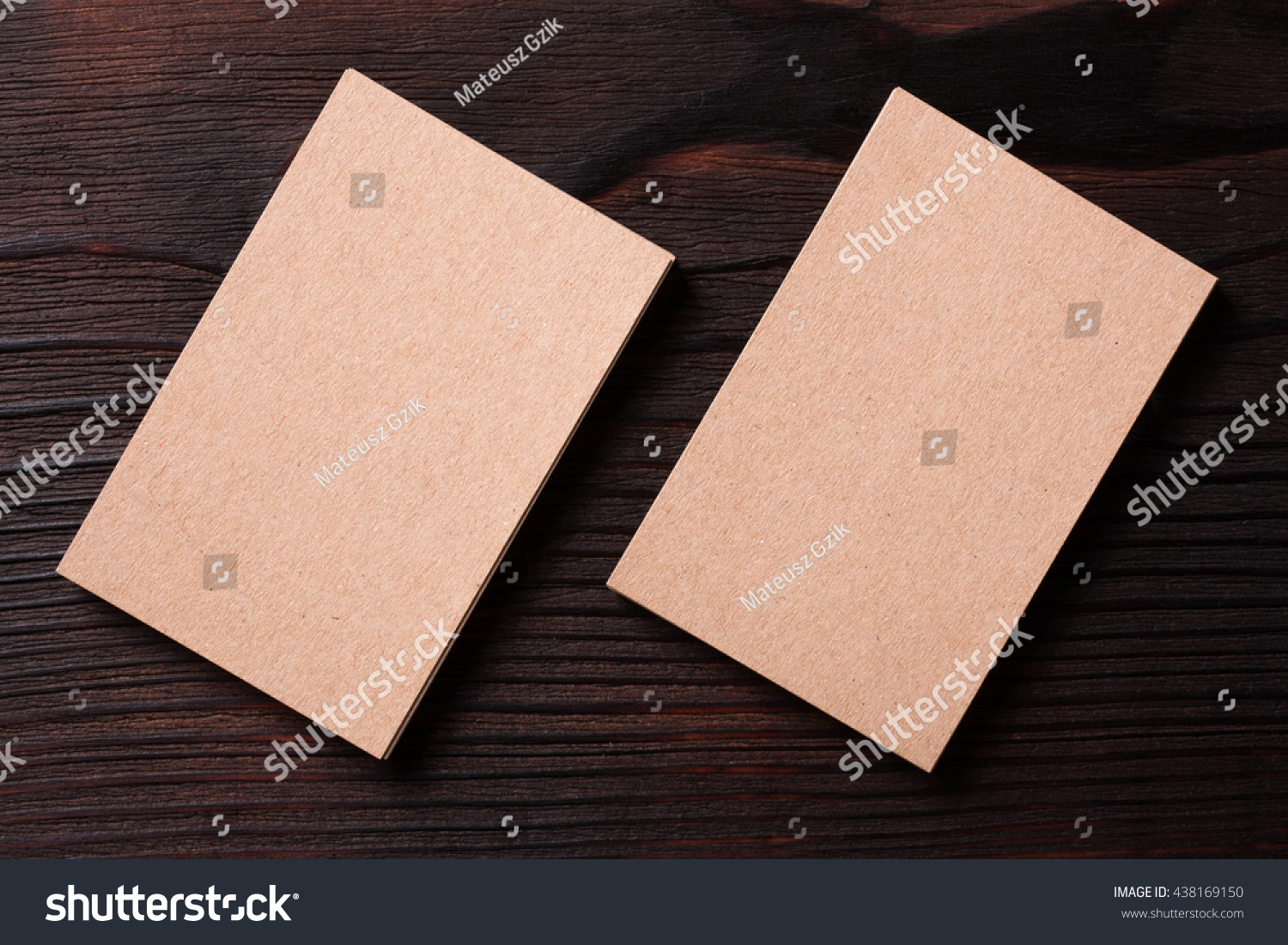 Recycled Paper Business Cards On Dark Stock Photo 438169150 ...
