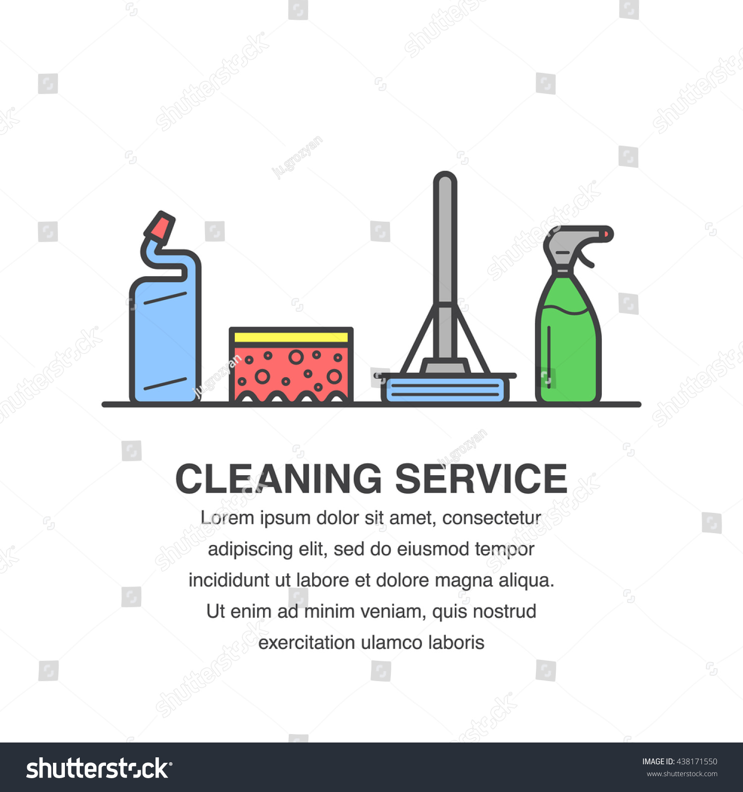 cleaning service banner design for advertisement mop sponge save to a lightbox